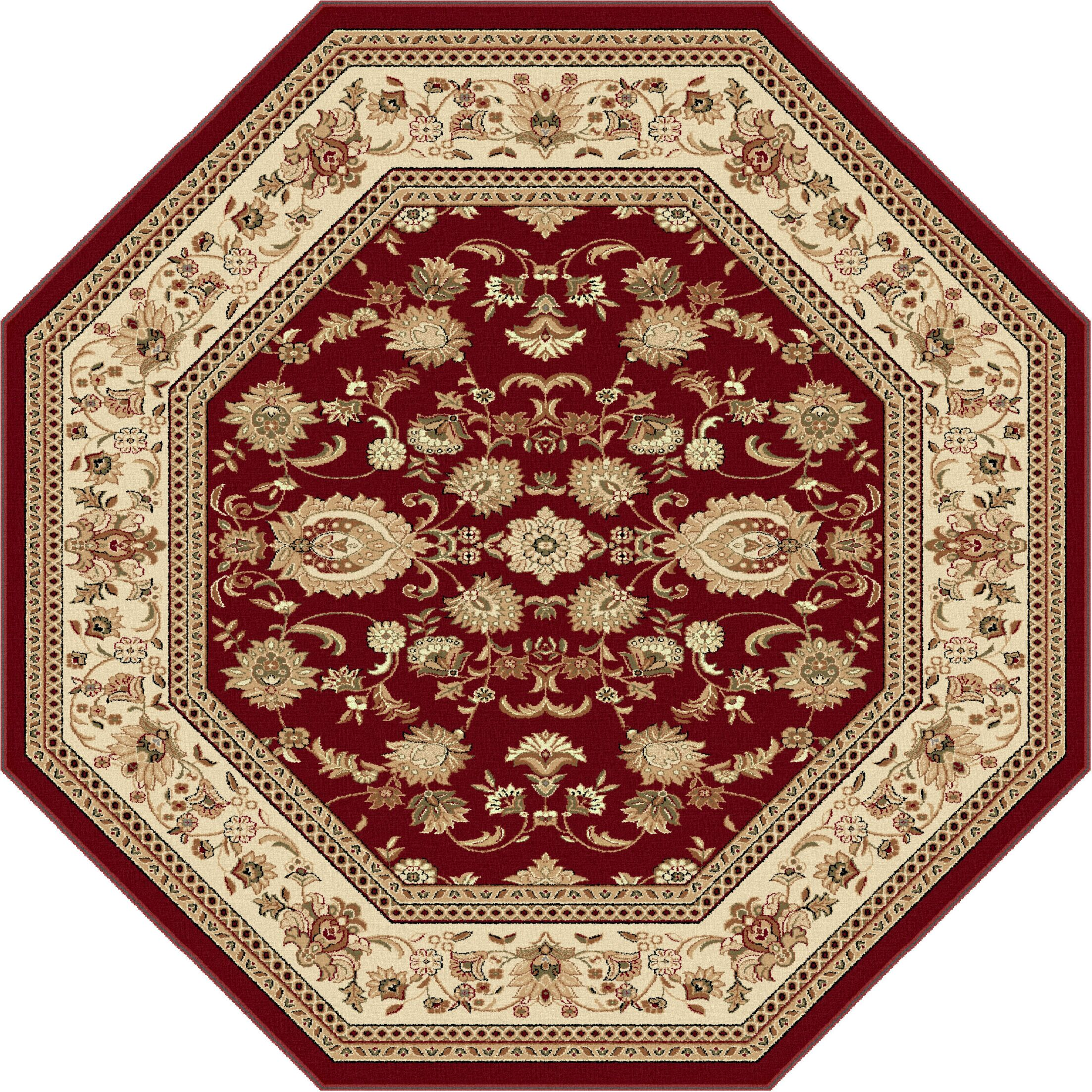 Clarence Beige/Red Area Rug Rug Size: 5'3'' Octagon
