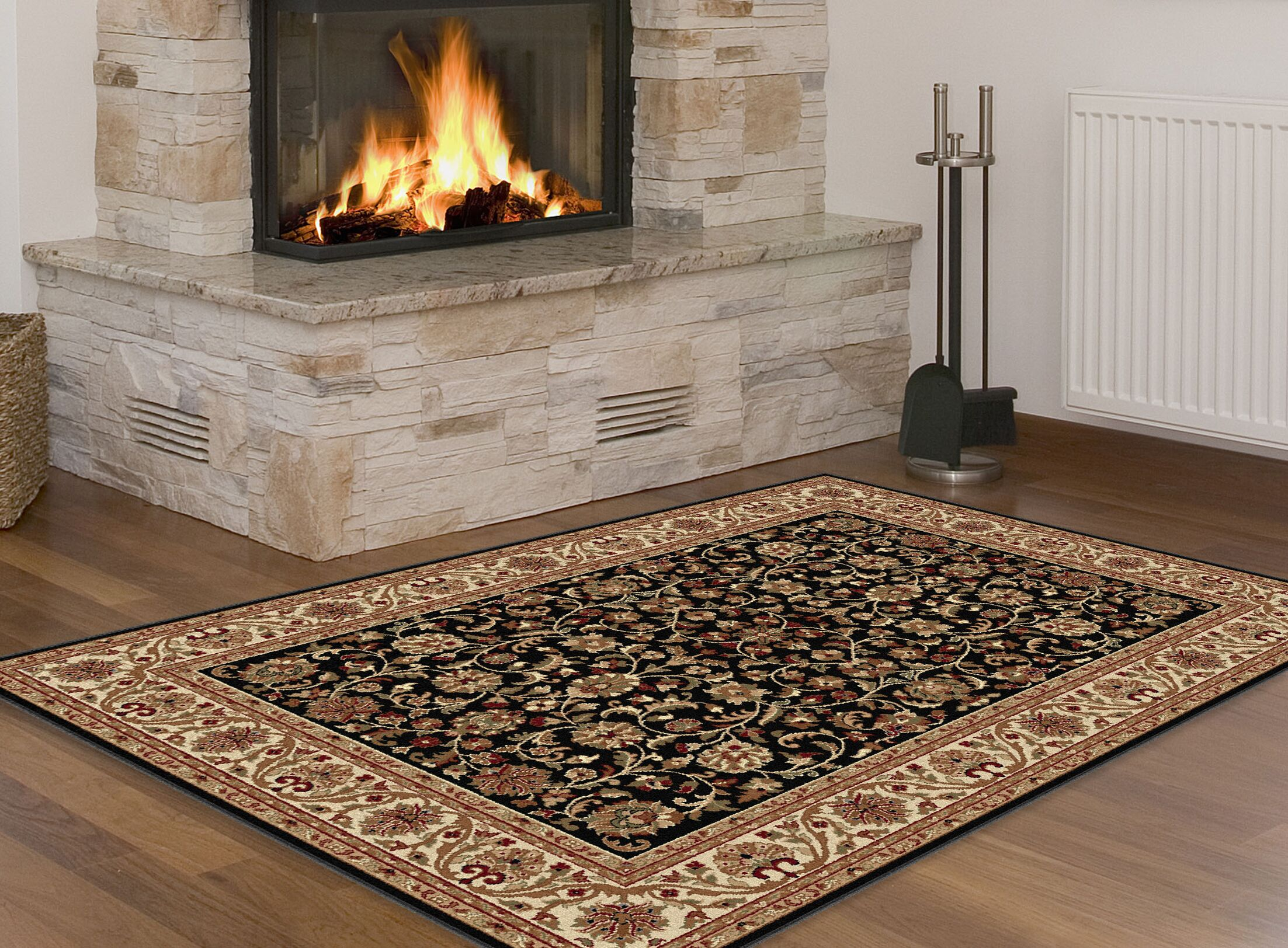 Clarence Black/Brown Area Rug Rug Size: 5'3'' x 7'3''