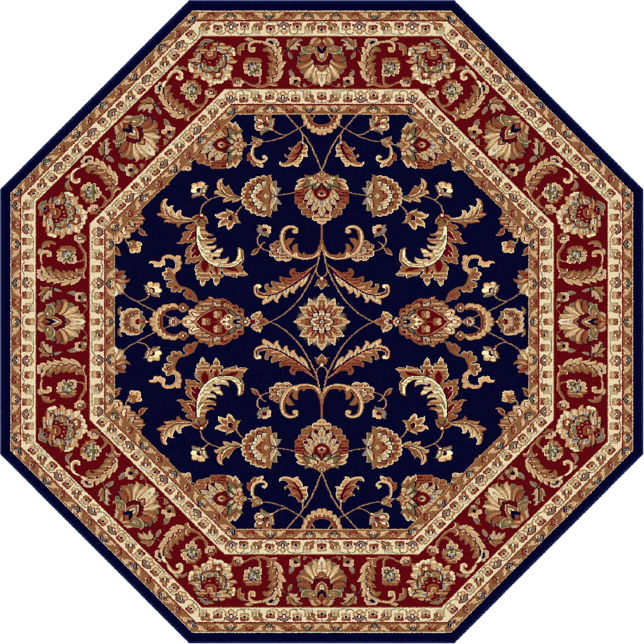 Clarence Navy Blue/Red Area Rug Rug Size: 5'3'' Octagon