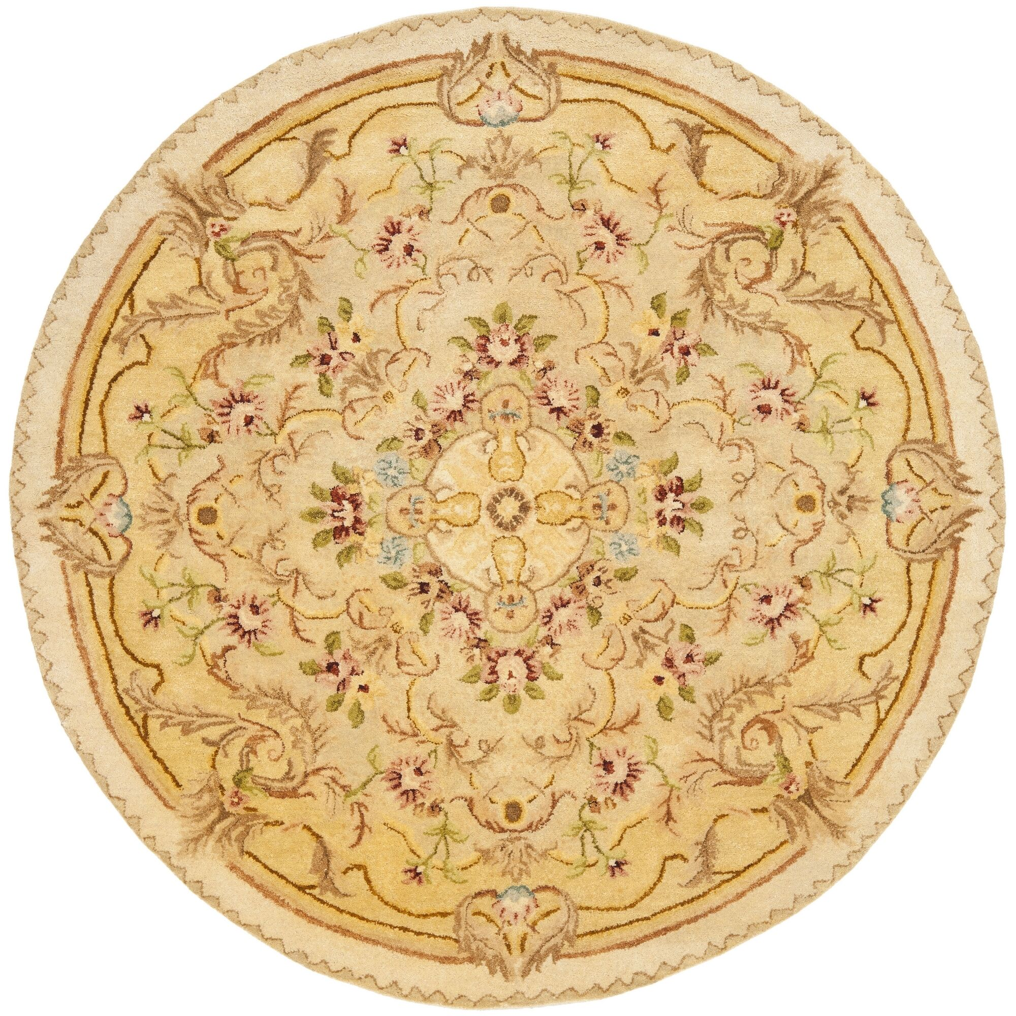 Bedgood Beige/Light Gold Area Rug Rug Size: Round 8'