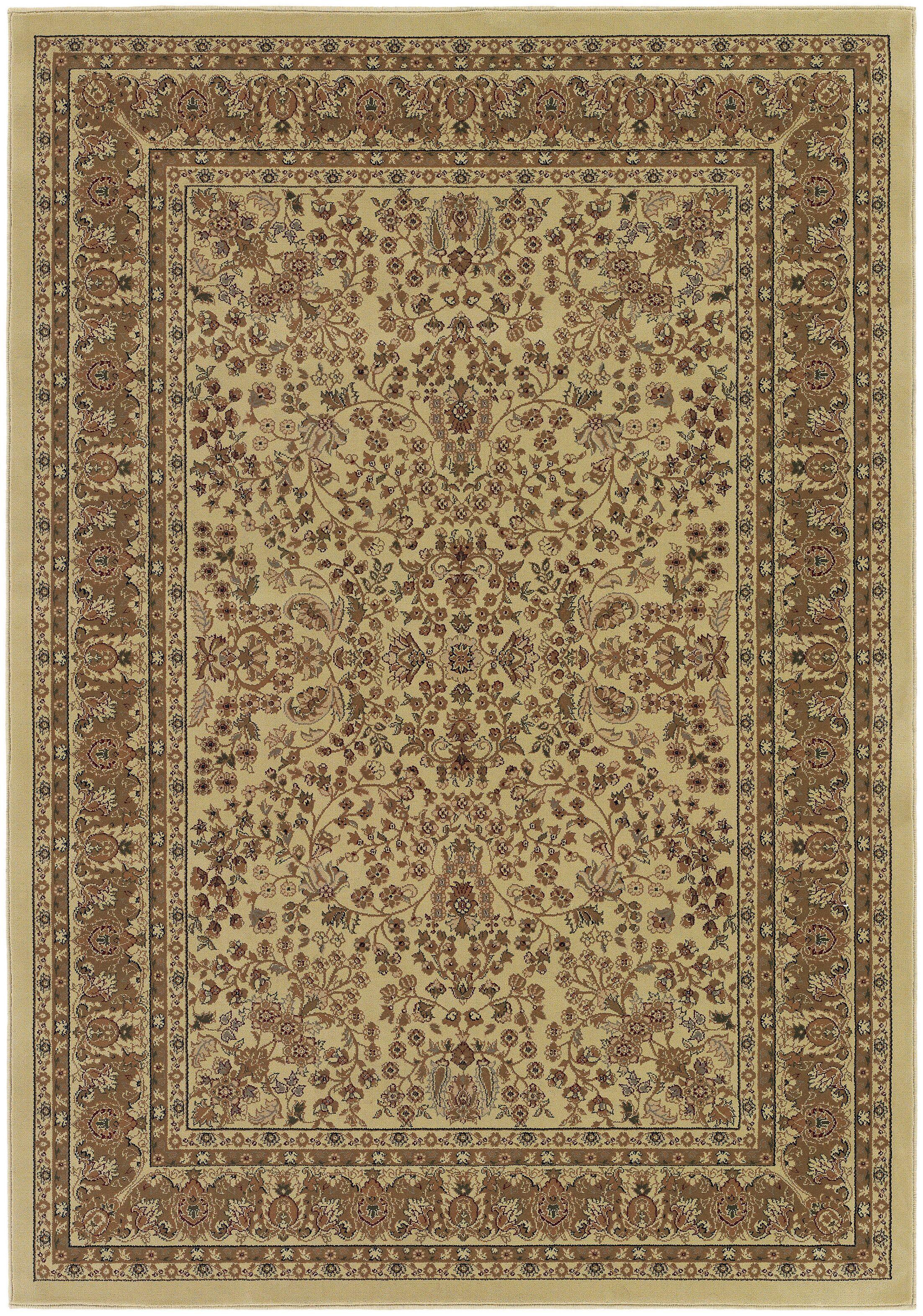 Belcourt Floral Beige/Brown Area Rug Rug Size: Rectangle 5'3