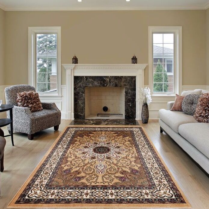 Gwinn Gold Indoor/Outdoor Area Rug Rug Size: 5' x 7'