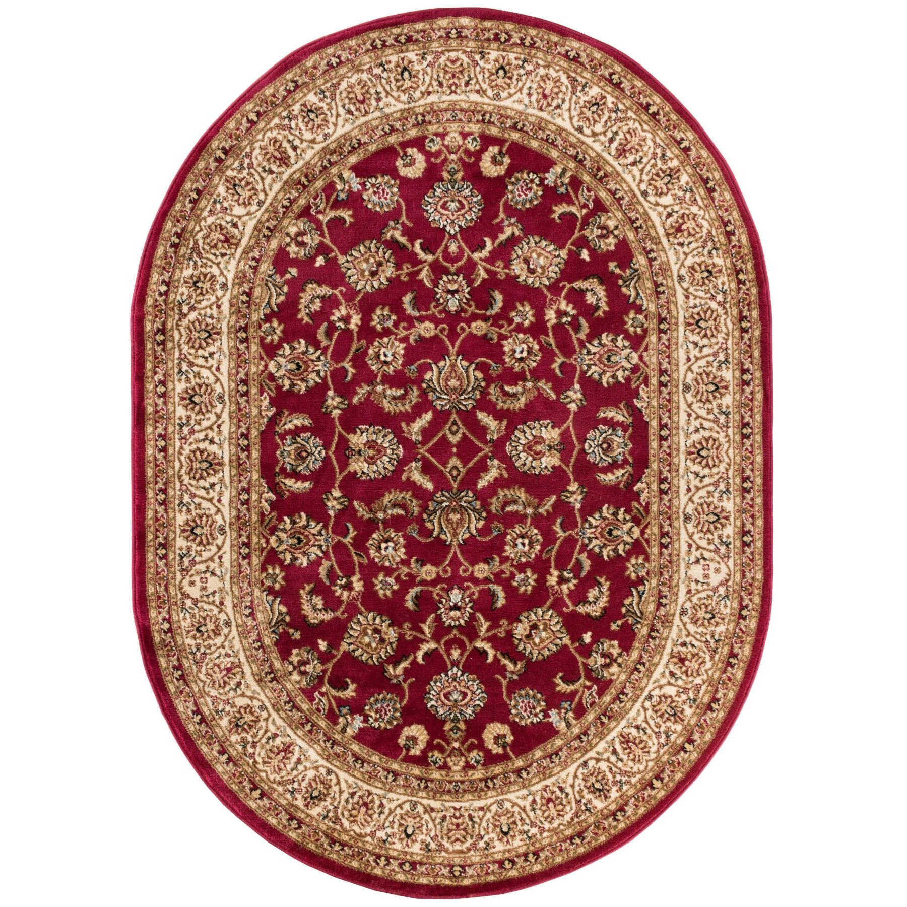 Belliere Sarouk Border Red Area Rug Rug Size: Oval 7'10