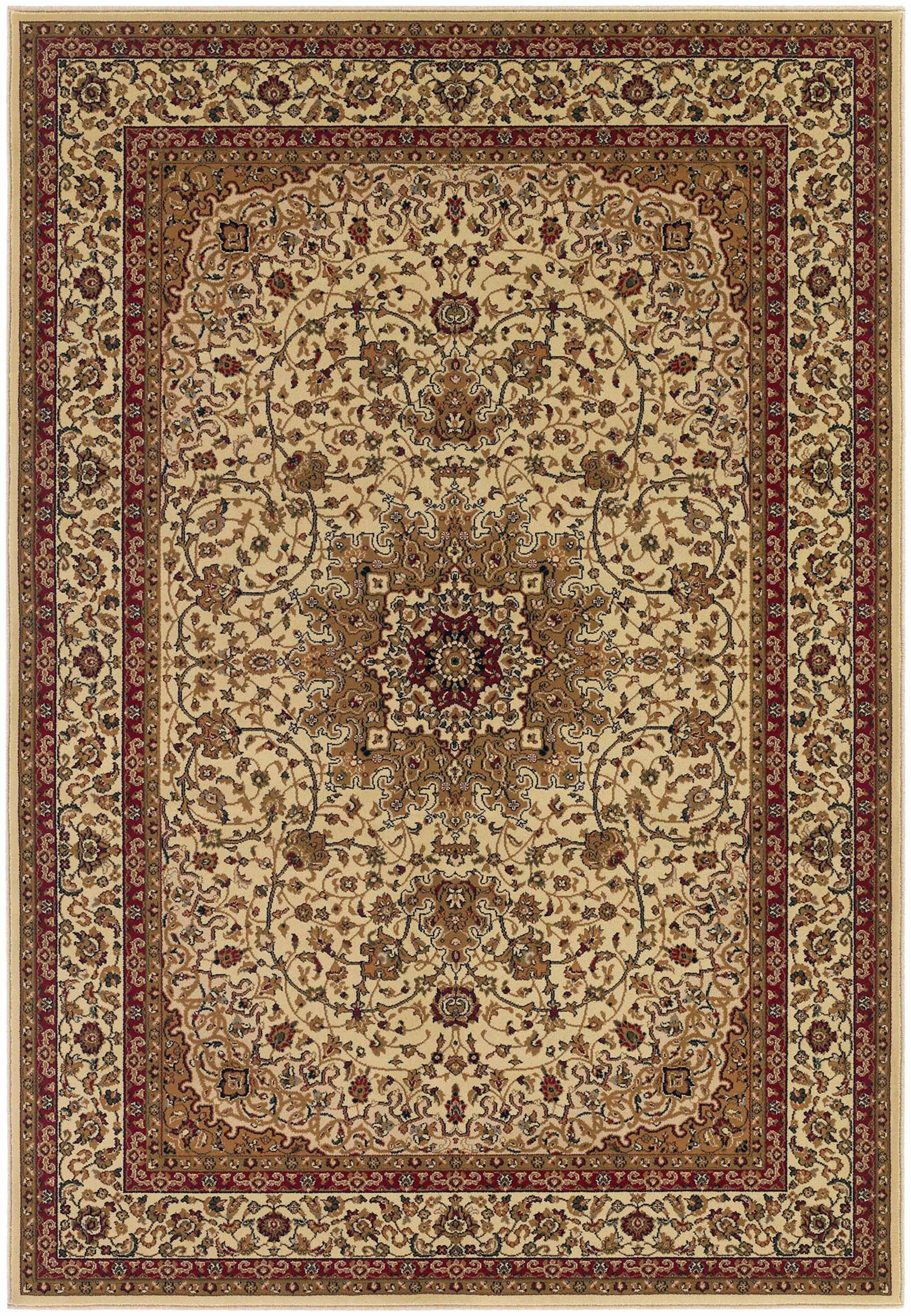 Belcourt Royal Kashan Ivory/Brown Area Rug Rug Size: Rectangle 9'2
