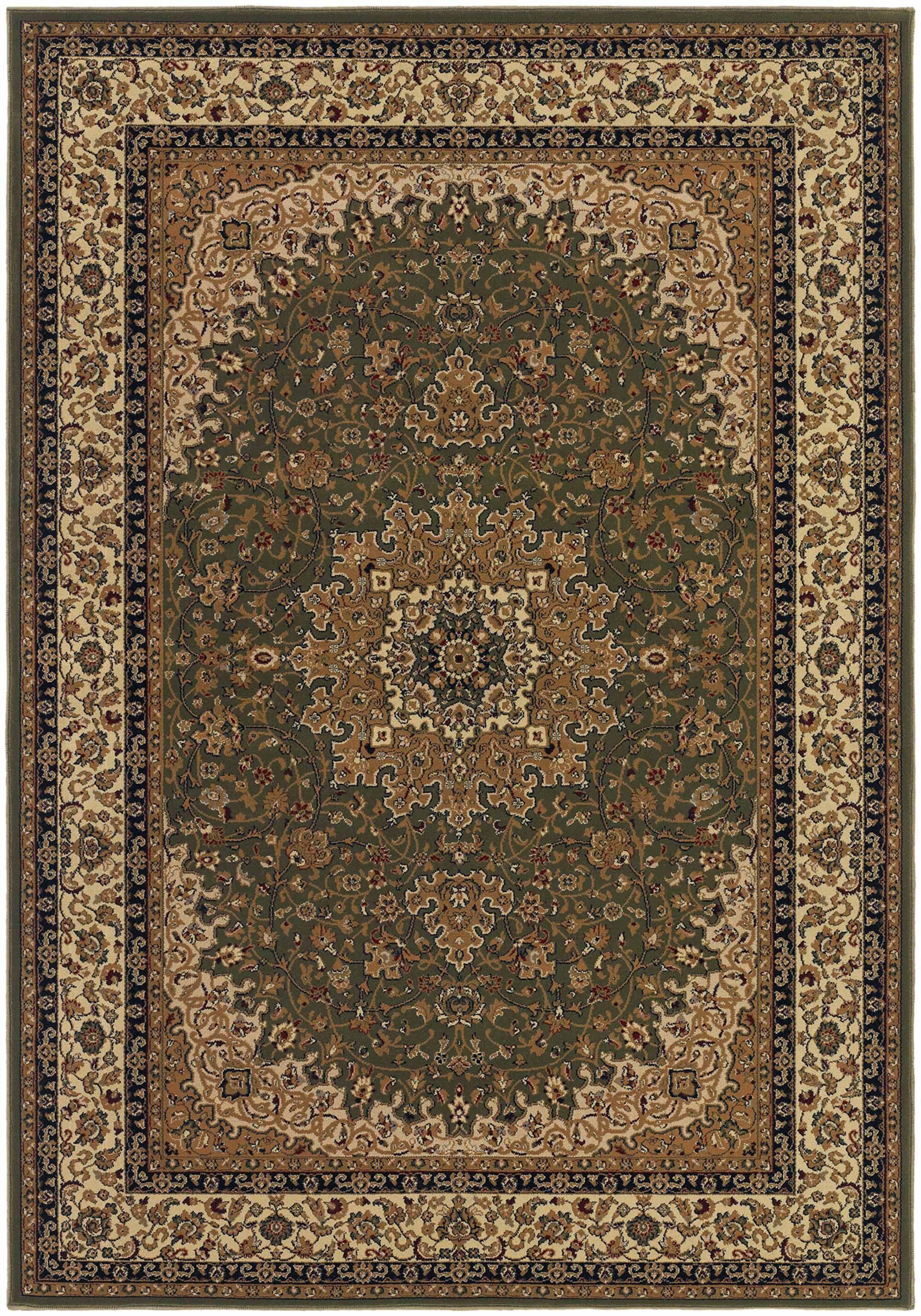 Belcourt Royal Kashan Green/Brown Area Rug Rug Size: Rectangle 9'2