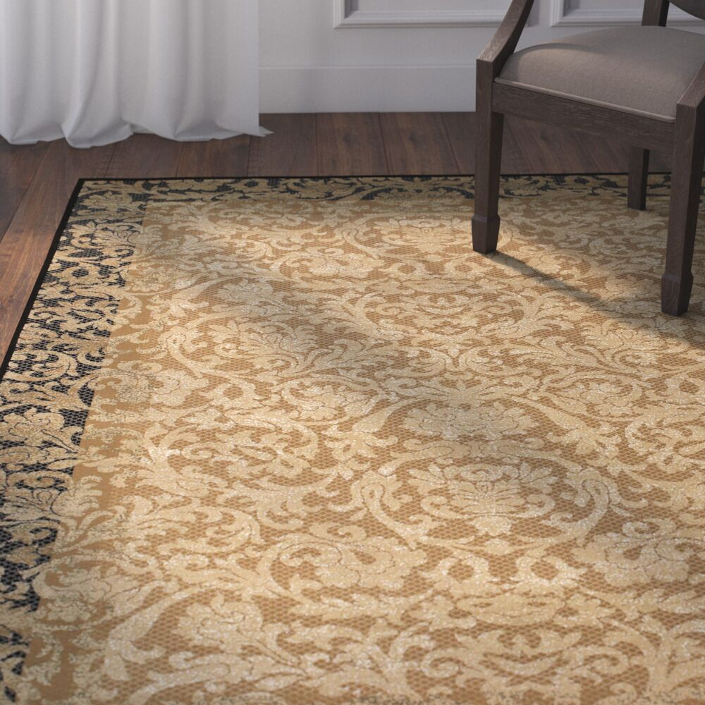 Cipriani Gold Area Rug Rug Size: Runner 2'7