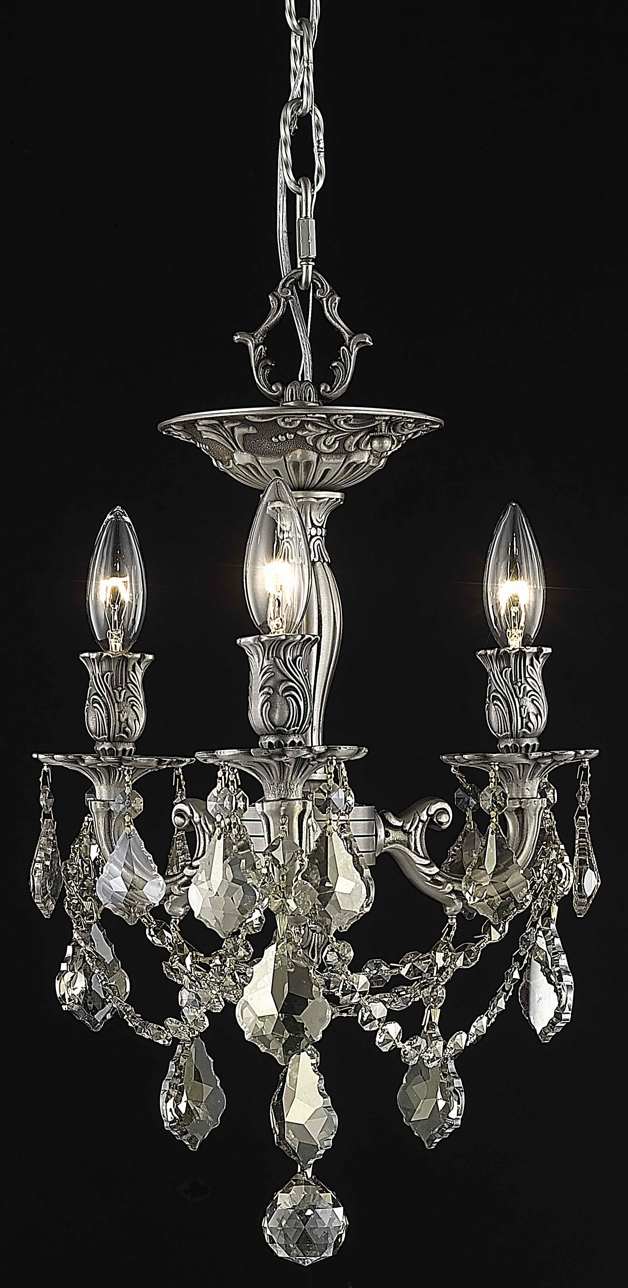 Reading 3-Light Candle Style Chandelier Crystal Color / Crystal Grade: Crystal (Clear) / Elegant Cut