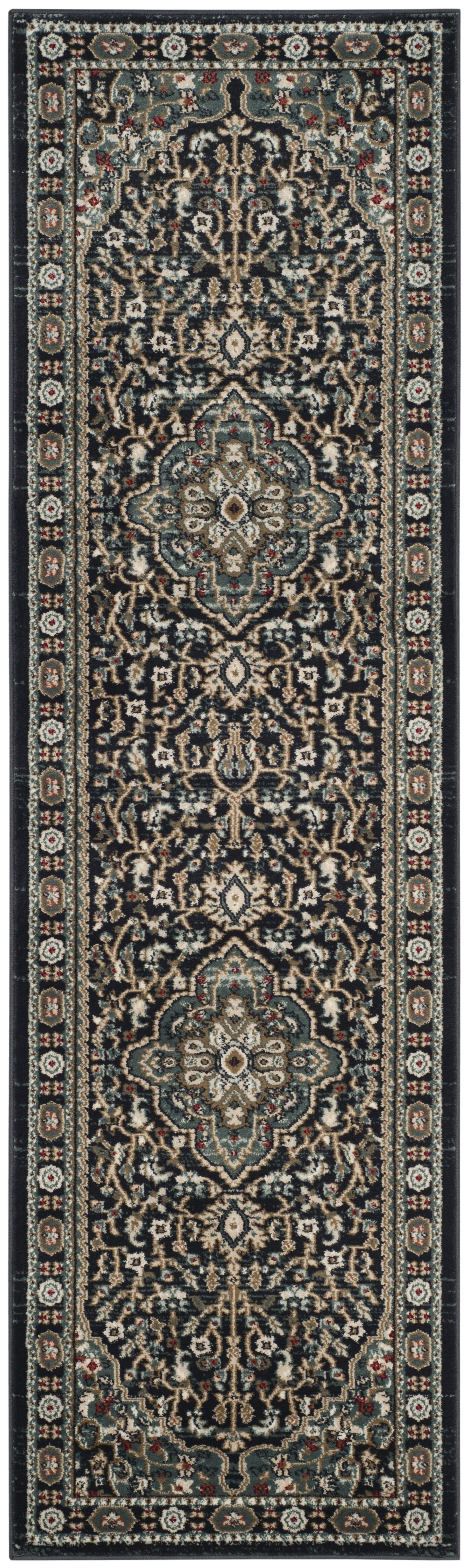 Taufner Anthracite/Teal Area Rug Rug Size: Runner 2'3