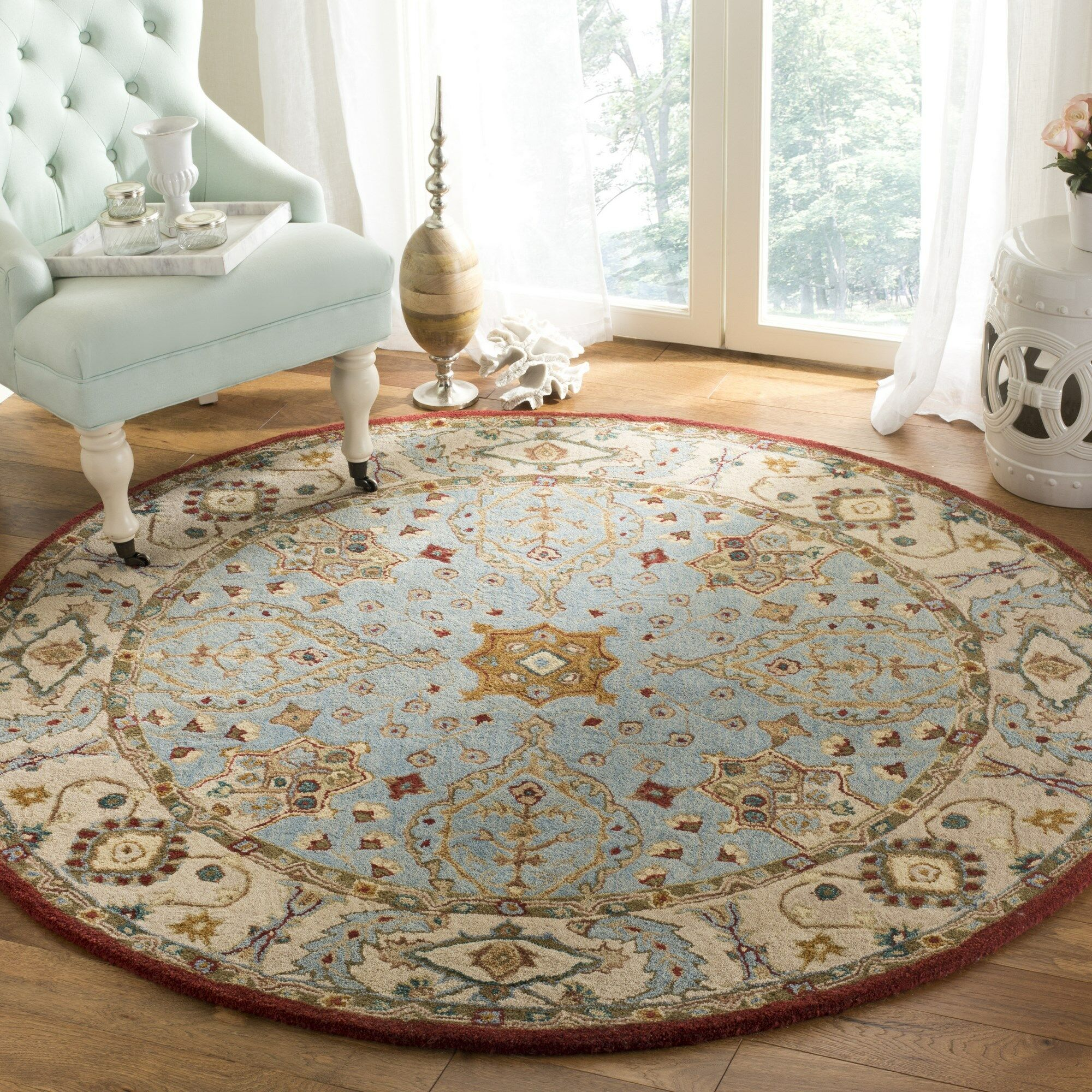 Barr Hand-Tufted Blue Area Rug Rug Size: Round 6'