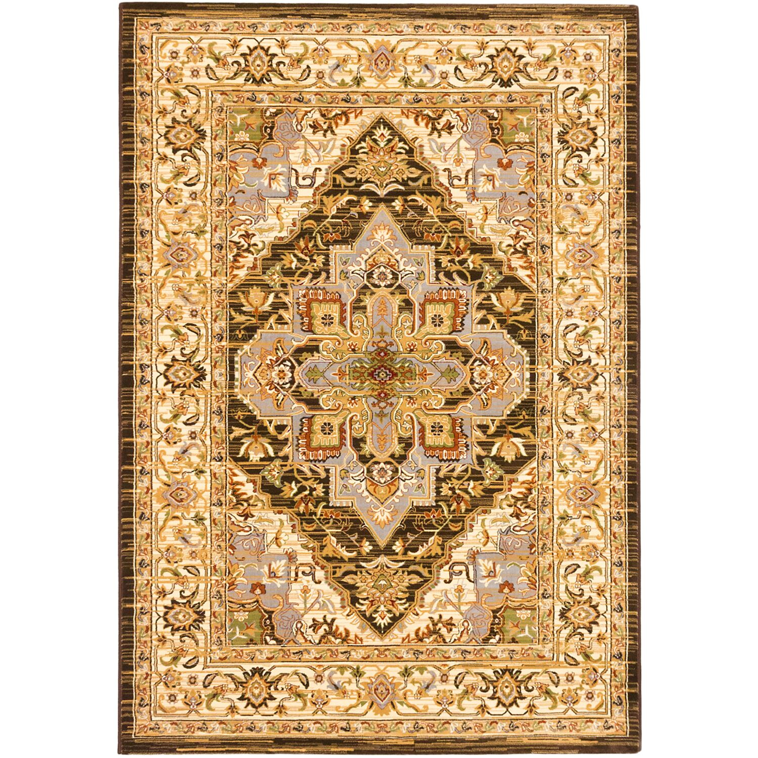 Monalisa Cream/Dark Brown Area Rug Rug Size: 7'10