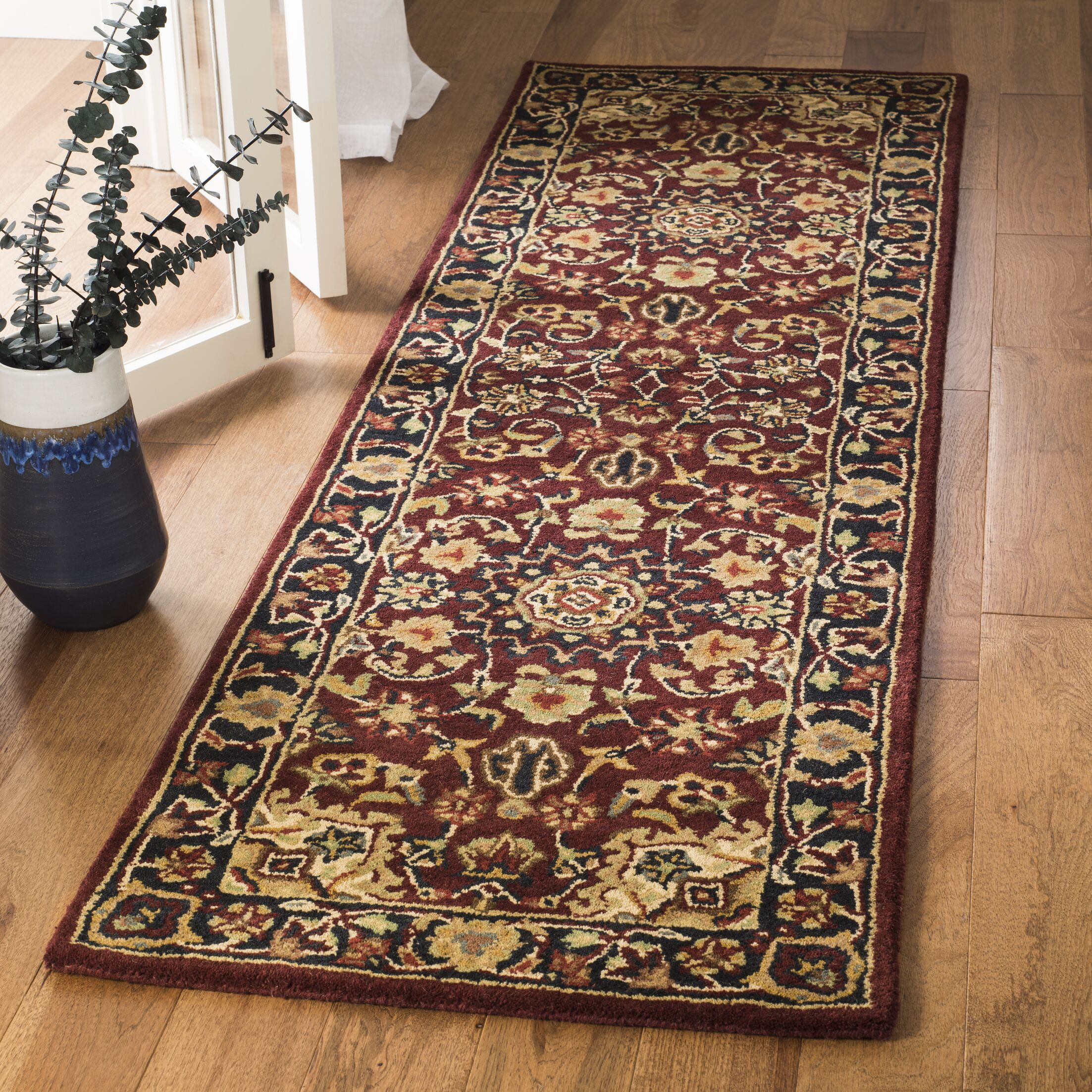 Costin Burgundy & Navy Area Rug Rug Size: Runner 2'3
