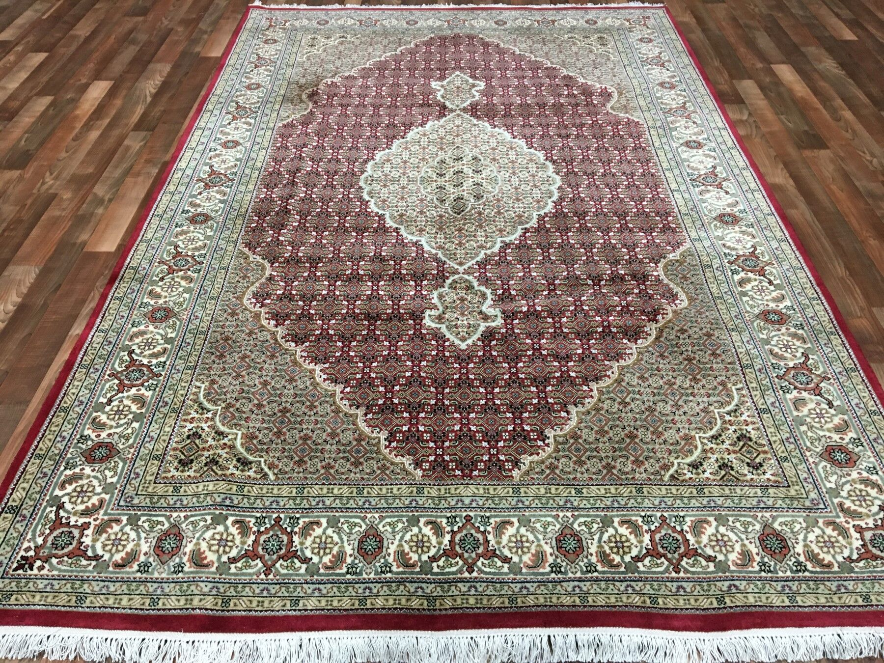One-of-a-Kind Avonmore Hand-Woven Wool and Silk Olive/Burgundy Area Rug