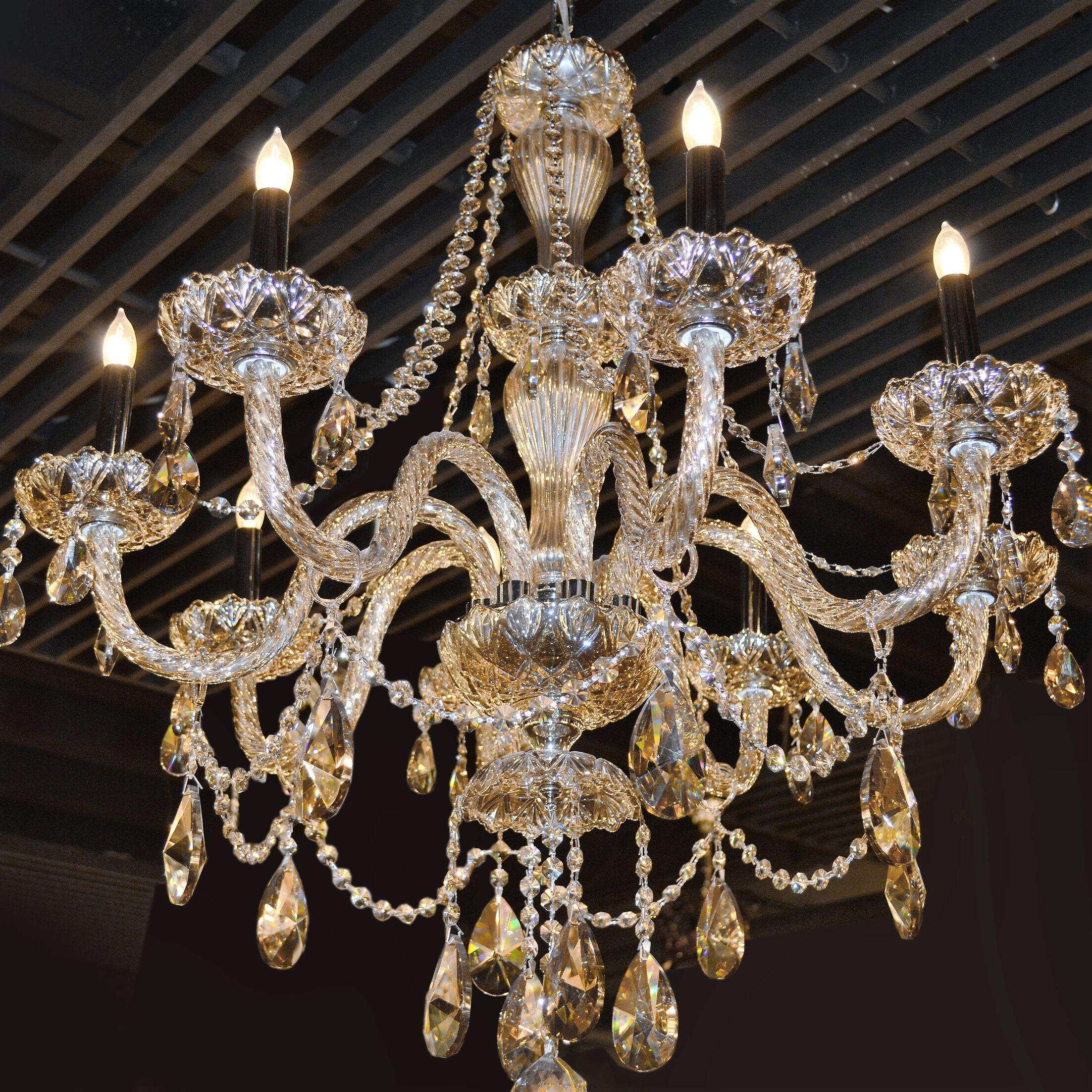 Doggett 8-Light Candle Style Chandelier Crystal Color: Golden Teak