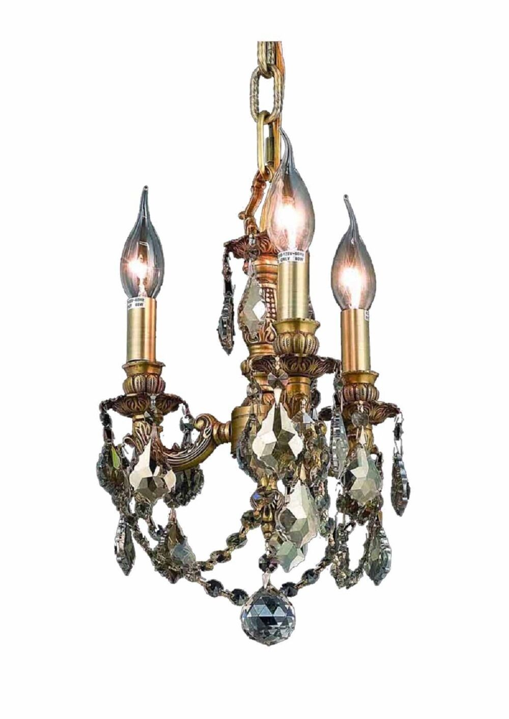 Downes 3-Light Candle Style Chandelier Color / Crystal Color / Crystal Trim: French Gold / Golden Teak (Smoky) / Royal Cut