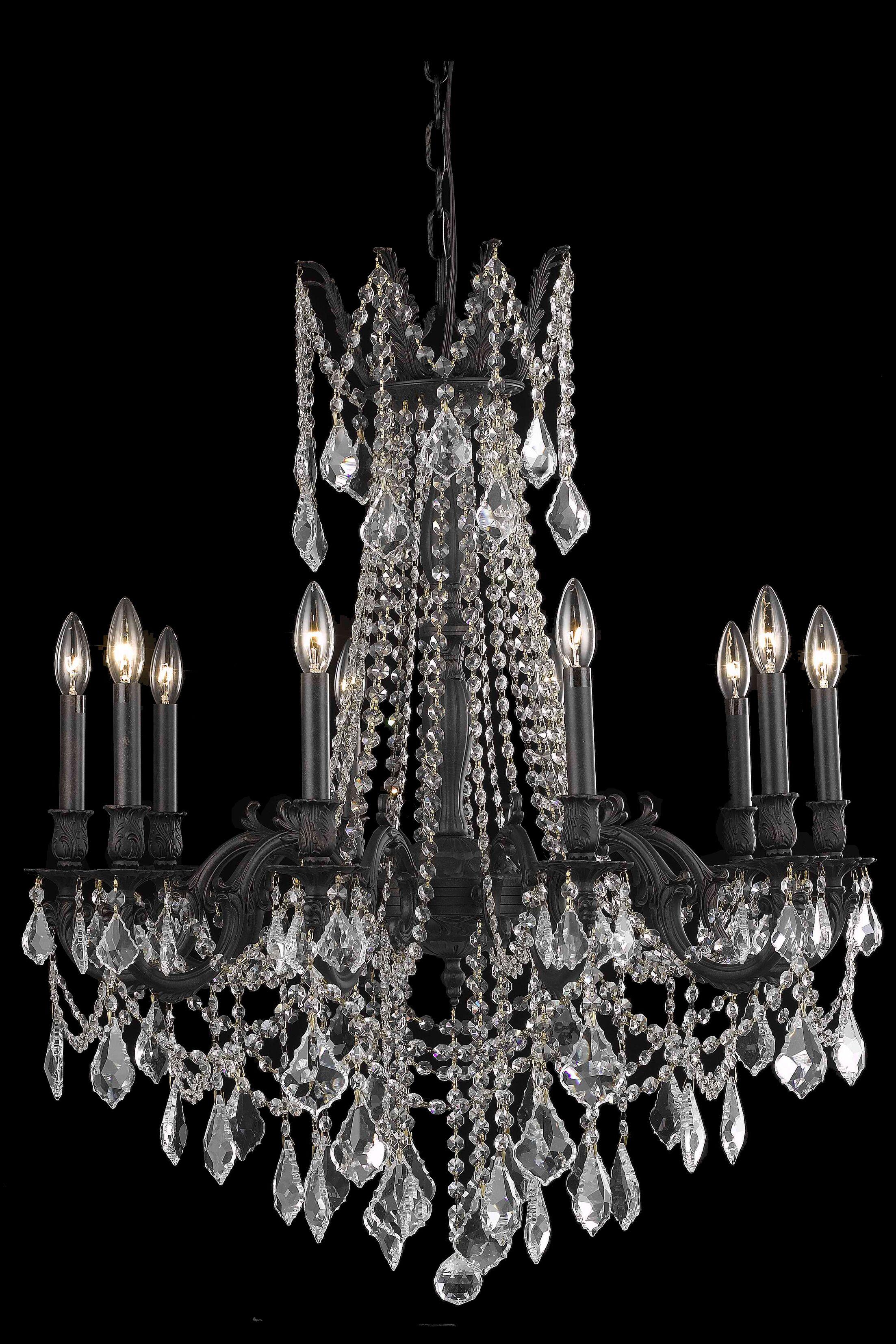 Utica 10-Light Candle Style Chandelier Crystal Color / Crystal Trim: Golden Teak (Smoky) / Royal Cut