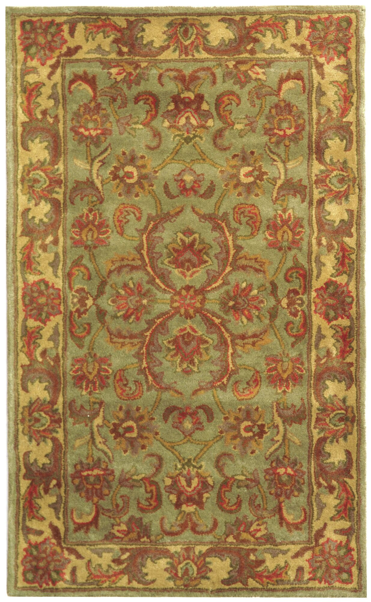 Taylor Hand-Tufted Wool Green/Gold Area Rug Rug Size: Rectangle 3' x 5'