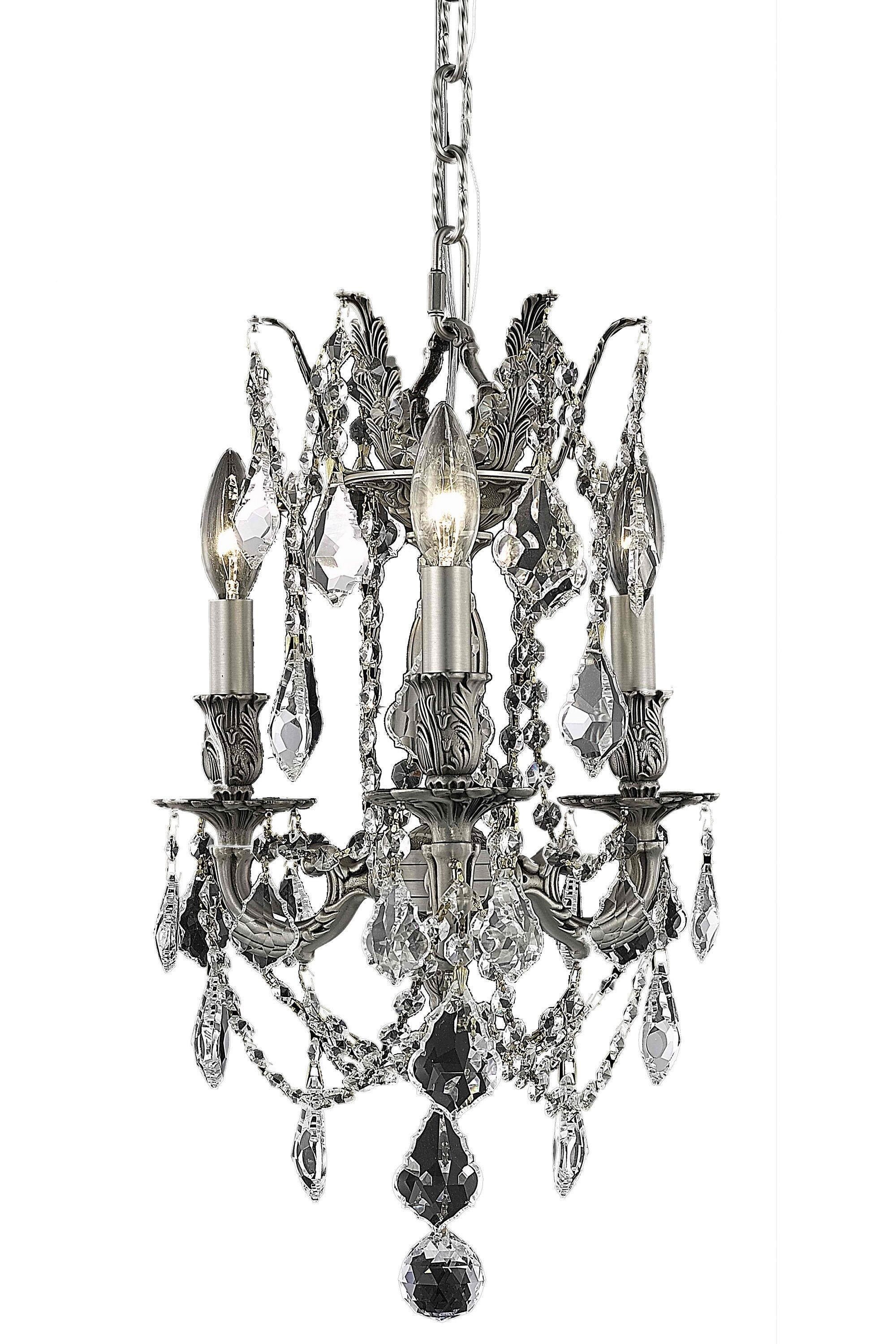 Utica 3-Light Candle Style Chandelier Crystal Color / Crystal Trim: Crystal (Clear) / Royal Cut