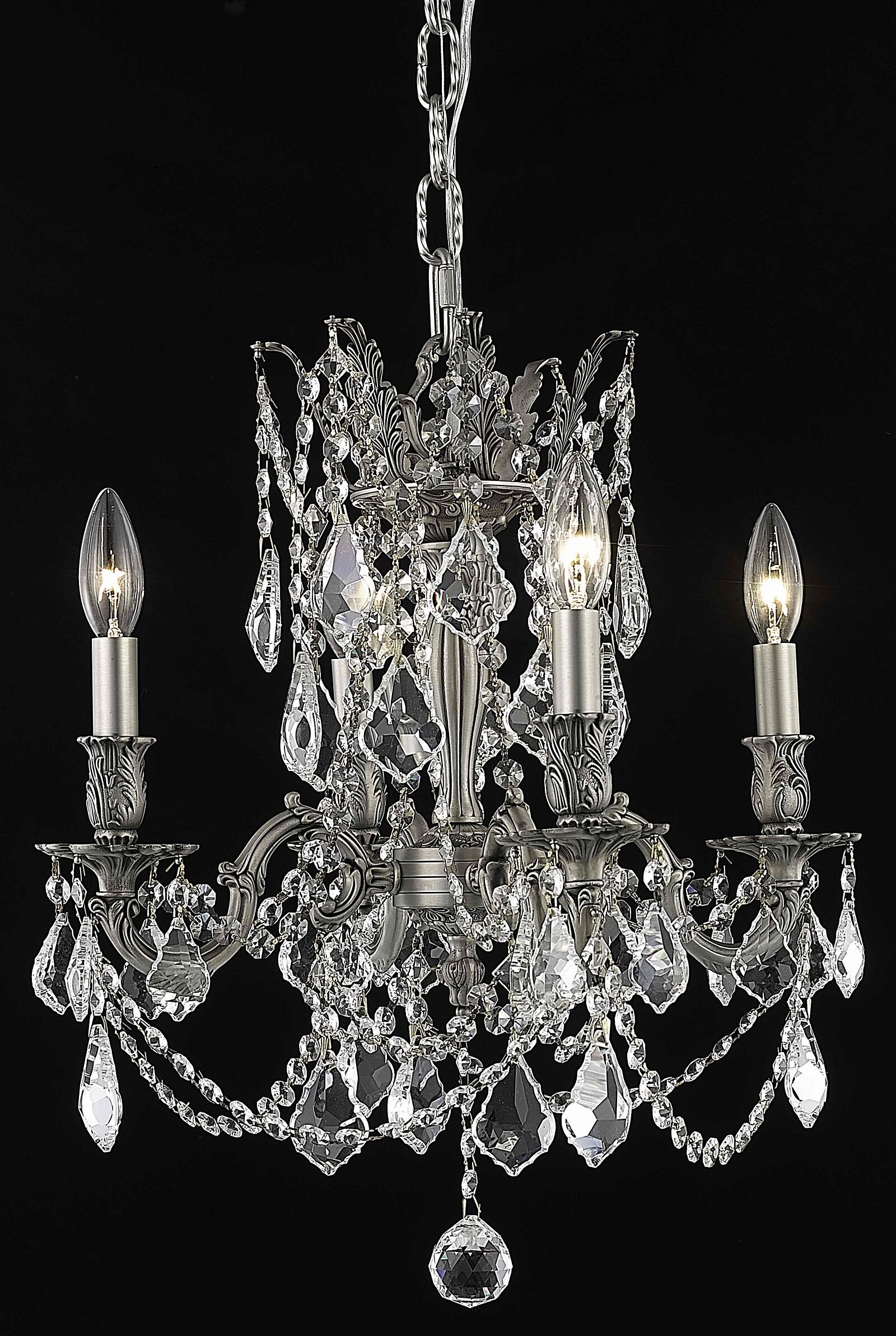 Utica 4-Light Candle Style Chandelier Crystal Color / Crystal Trim: Crystal (Clear) / Royal Cut