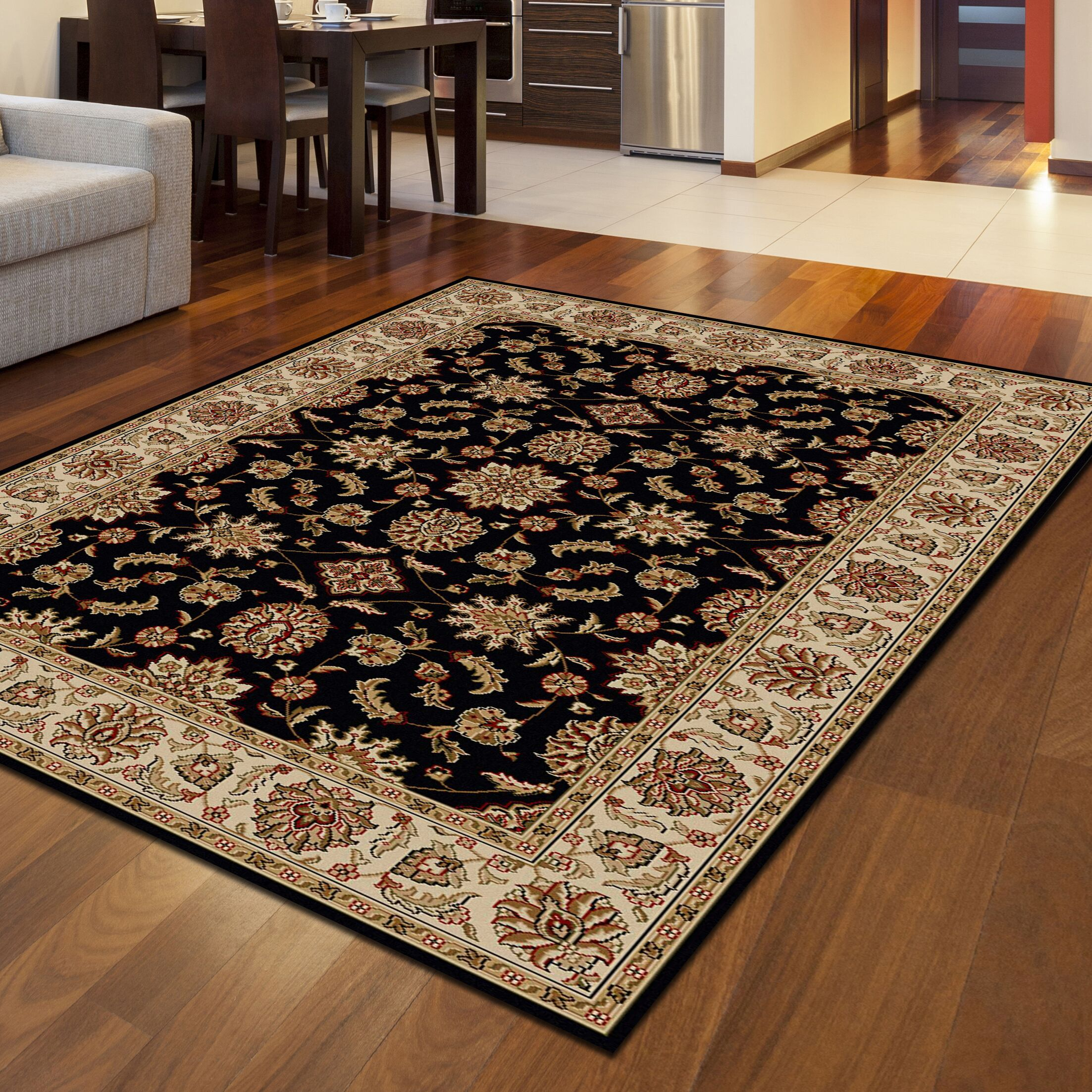 Northgate Power Loom Synthetic Black Indoor Area Rug Rug Size: Rectangle 7'9