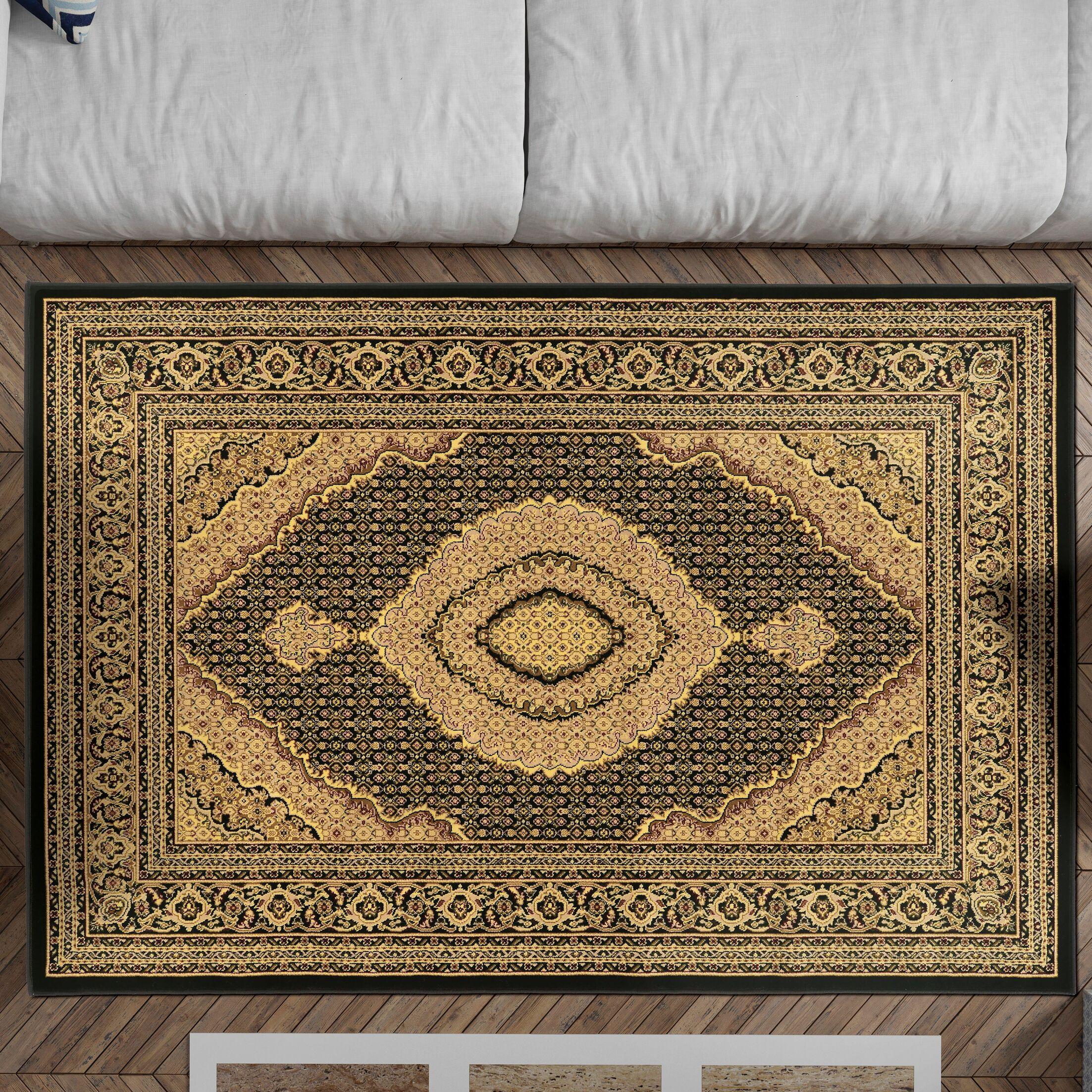 Lozoya Tabriz Black Area Rug Rug Size: Rectangle 5' x 7'6