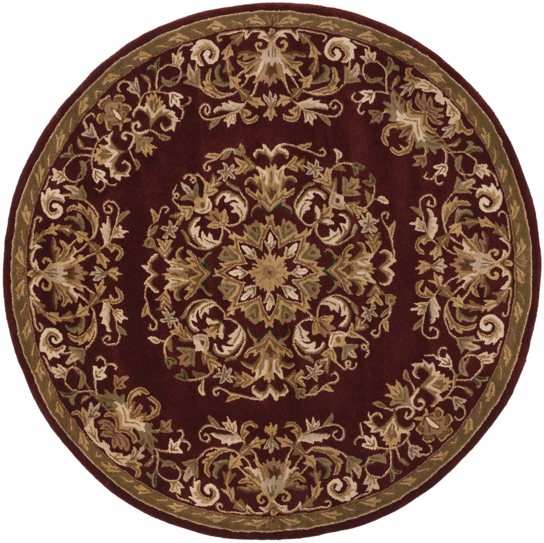 Balthrop Red/Yellow Floral Area Rug Rug Size: Round 6'