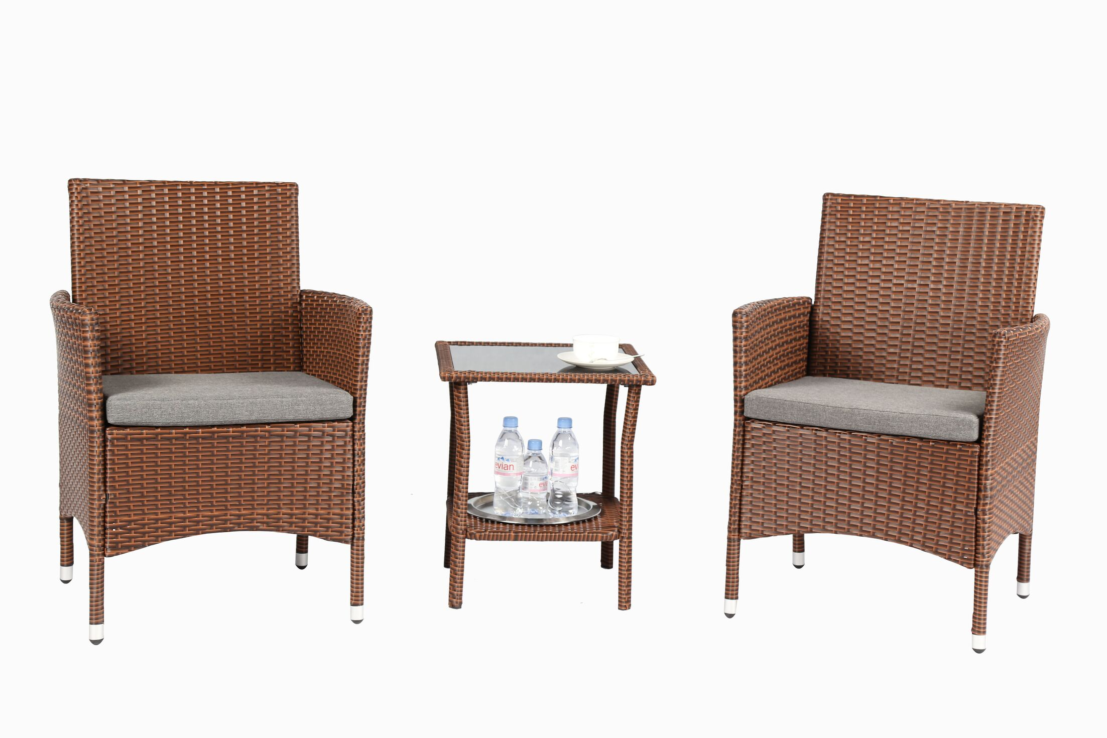 3 Piece Conservation Set with Cushions Color: Brown