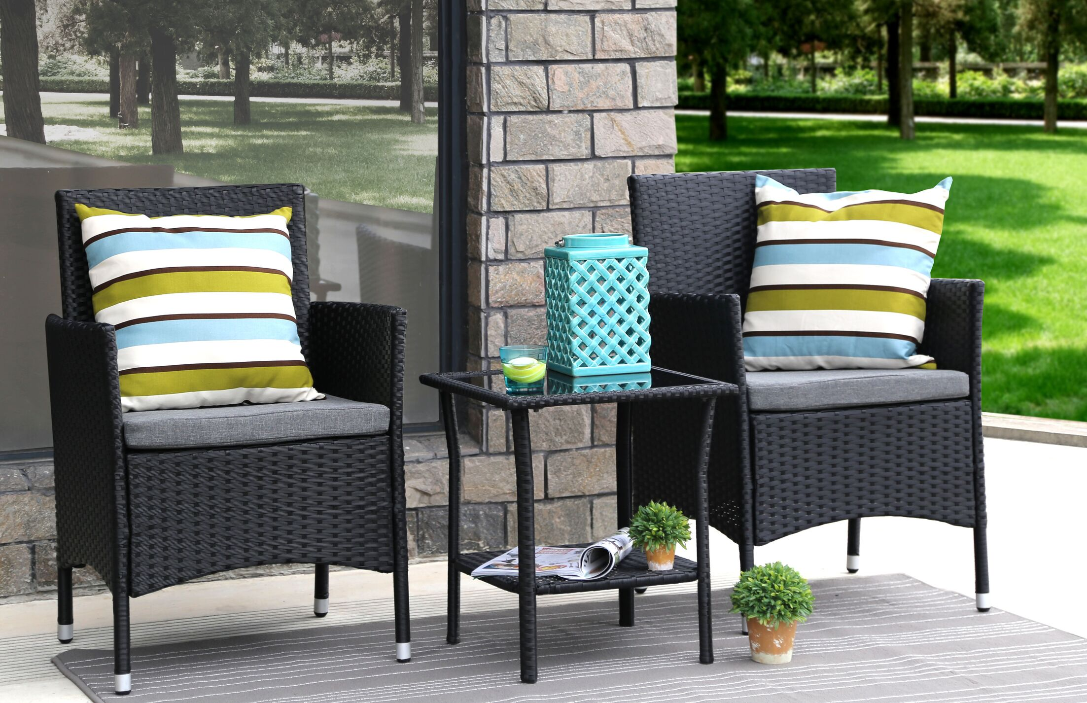3 Piece Conservation Set with Cushions Color: Black