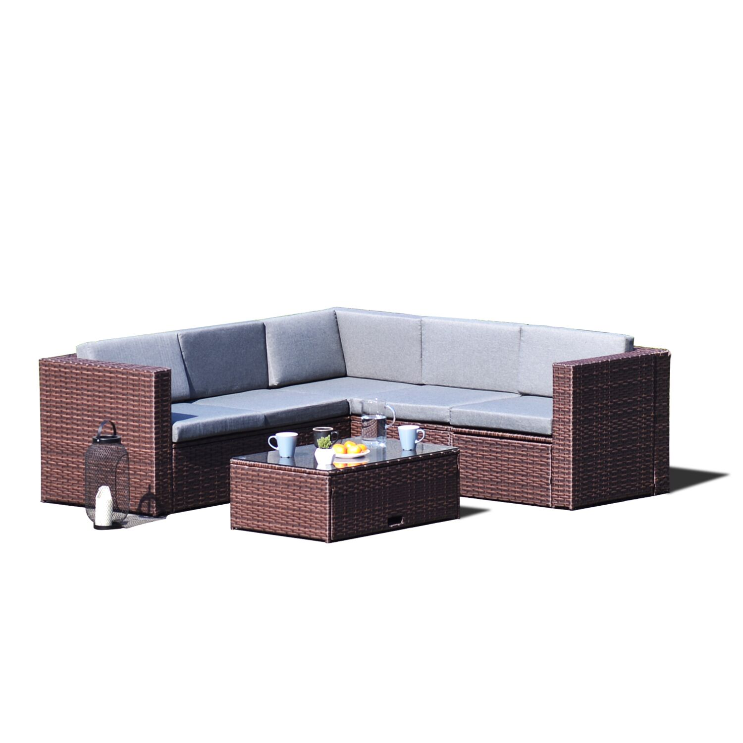 Fishel 4 Piece Rattan Sectional Set with Cushion Frame Color: Brown