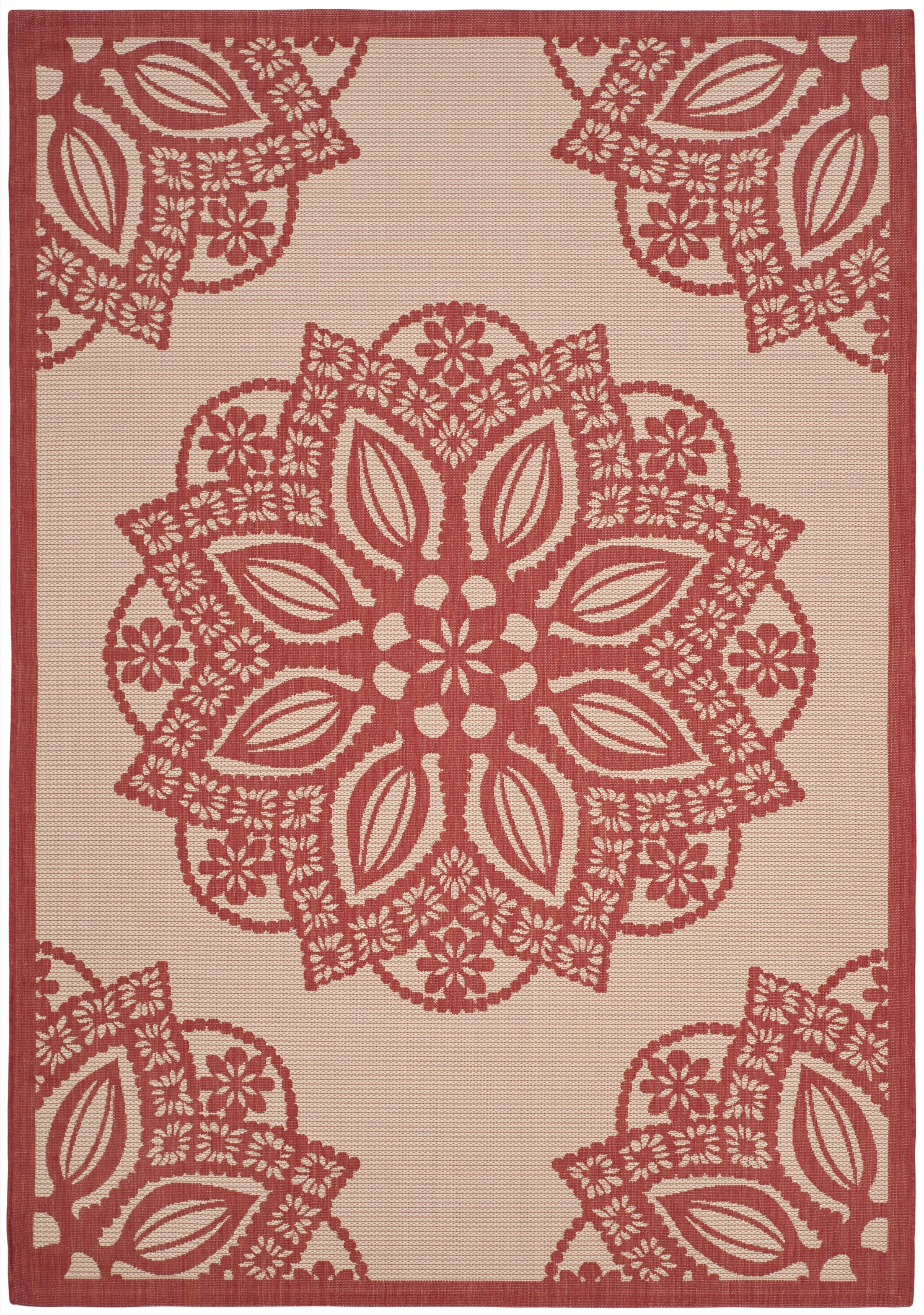 Lauber Beige/Red Area Rug Rug Size: Rectangle 8' x 11'