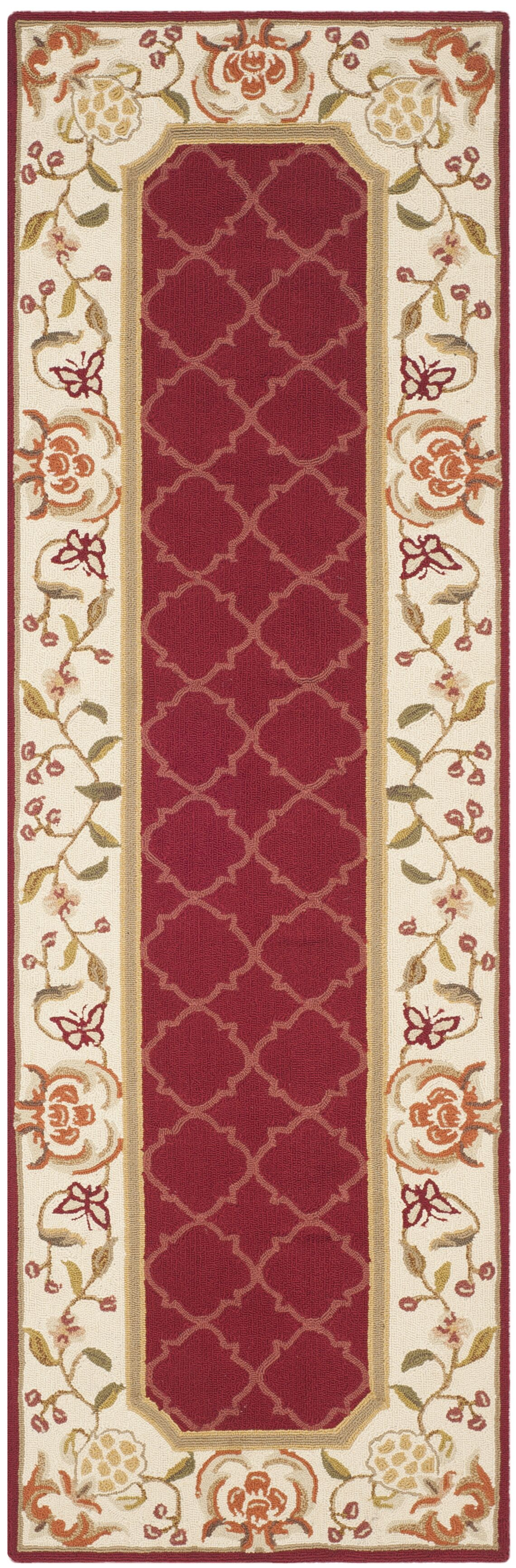 Arends Hand-Hooked Burgundy/Ivory Area Rug Rug Size: Runner 2'6