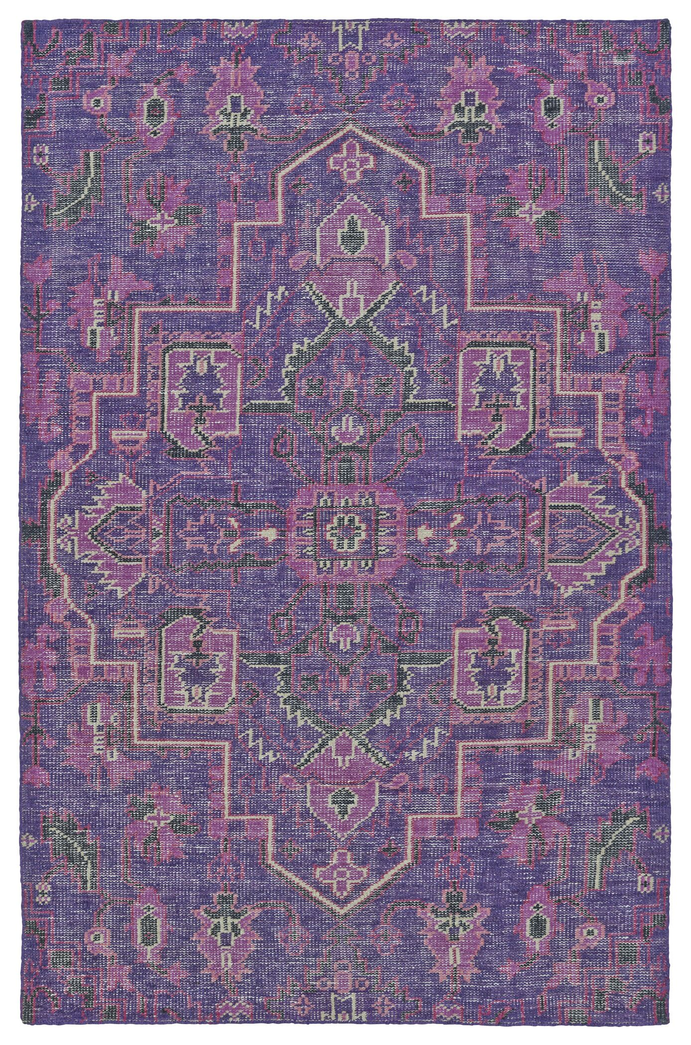 Aanya Hand-Knotted Purple Area Rug Rug Size: Rectangle 8' x 10'