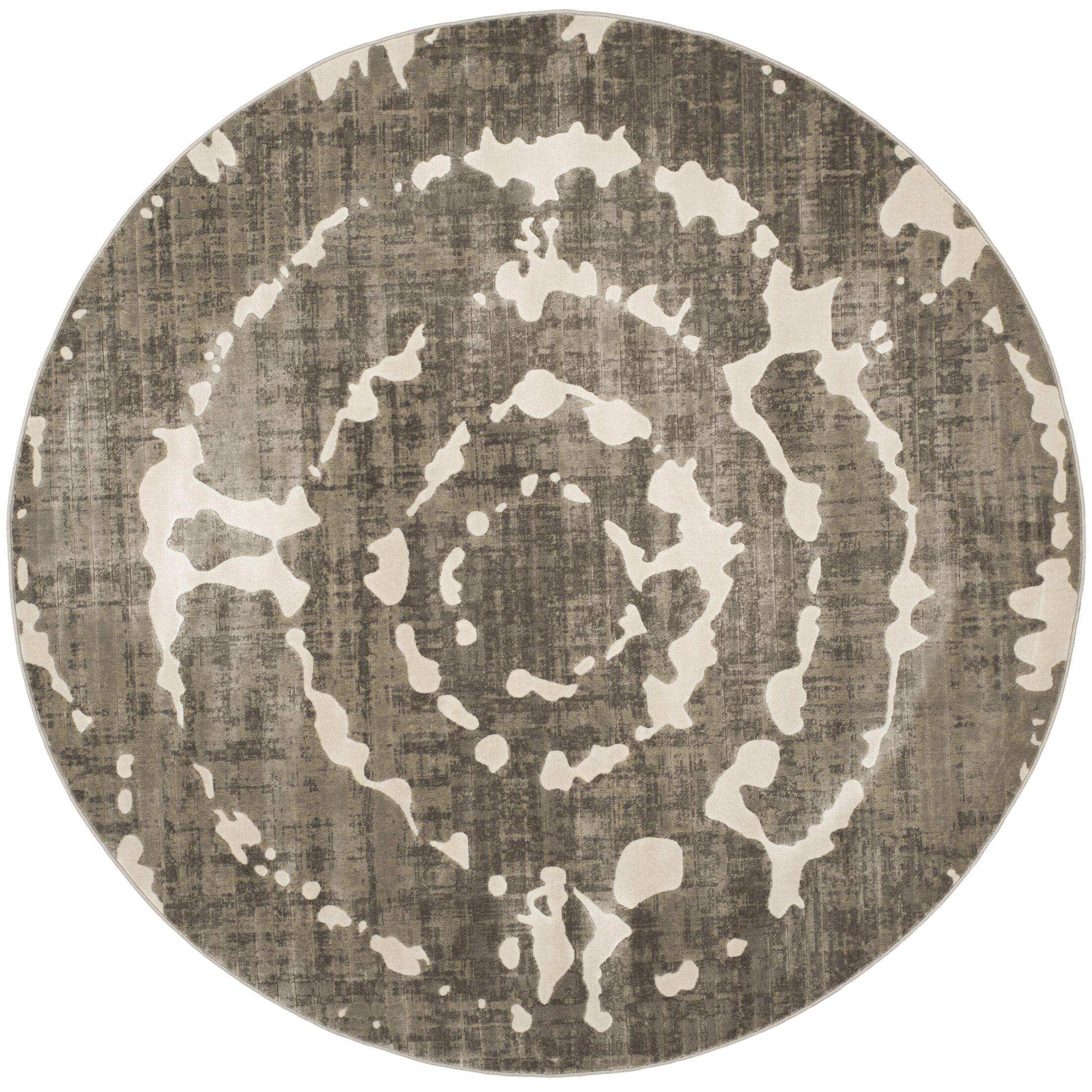Chaima Gray/Ivory Area Rug Rug Size: Round 6'7