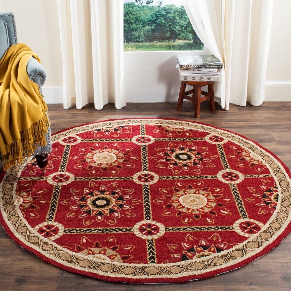 Noham Hand-Hooked Red/Natural Area Rug Rug Size: Round 6' x 6'