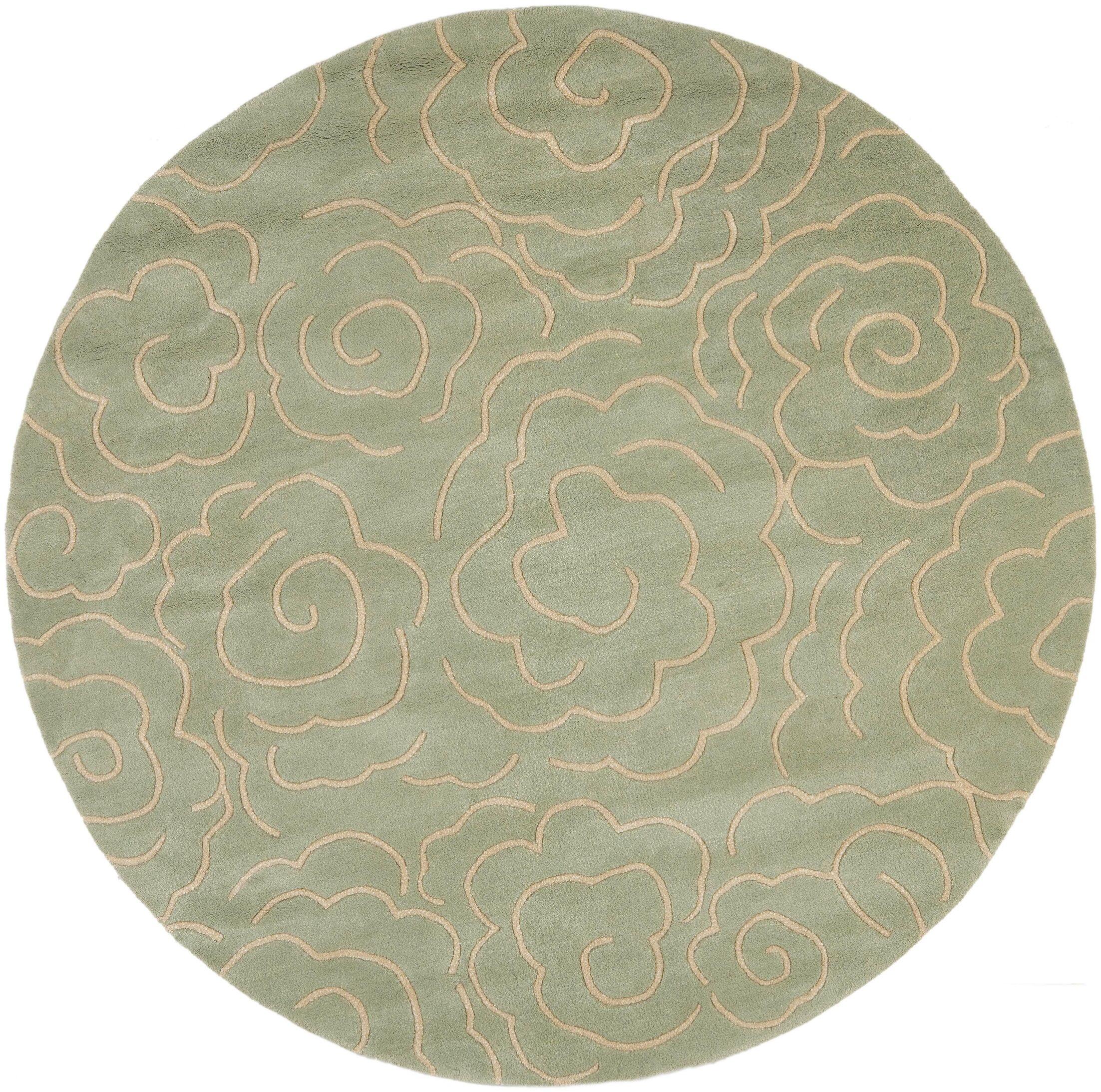 Tatyana Soft Light Blue/Ivory Area Rug Rug Size: Round 6'