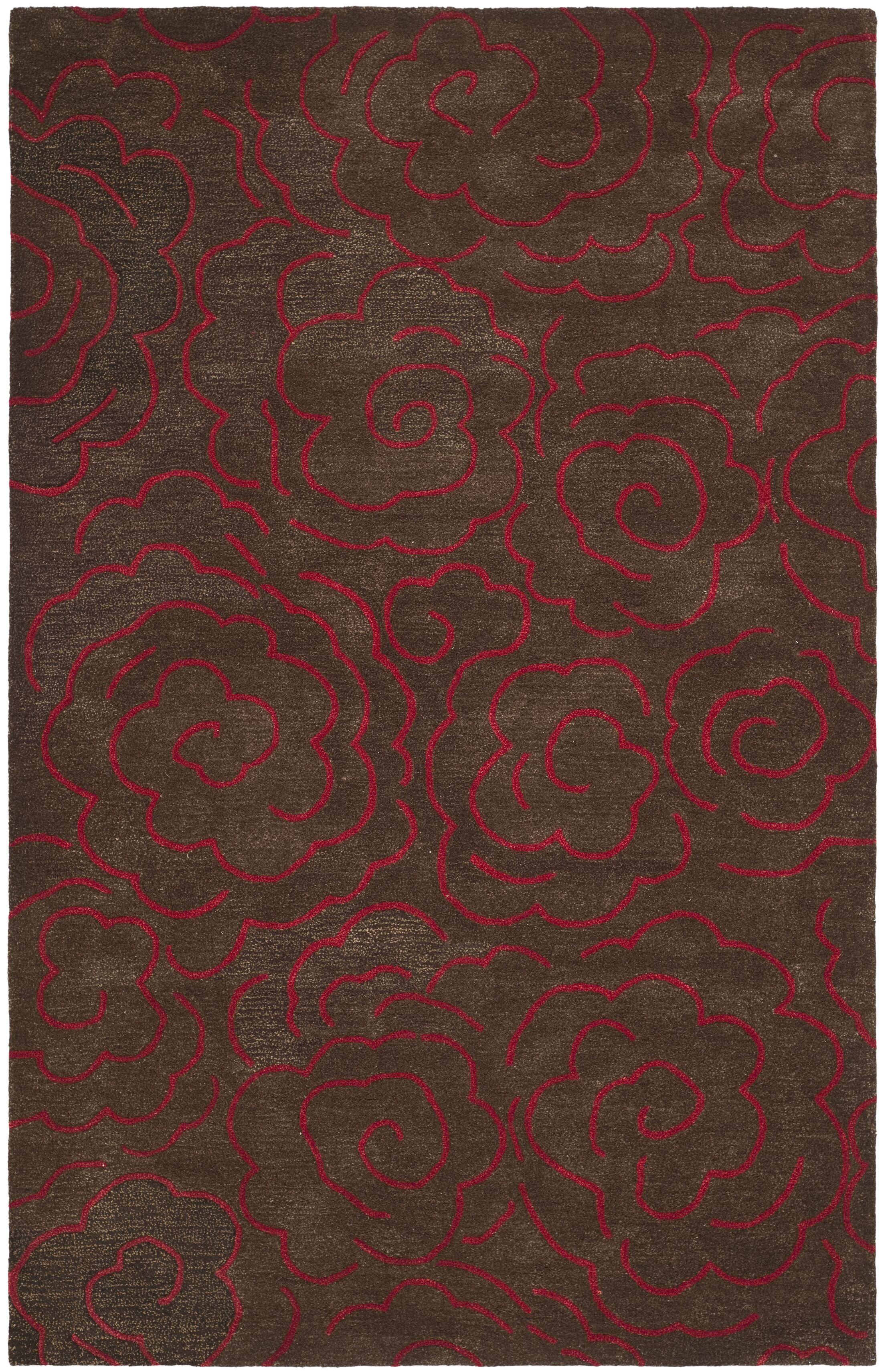 Tatyana Chocolate/Red Area Rug Rug Size: Rectangle 5' x 8'
