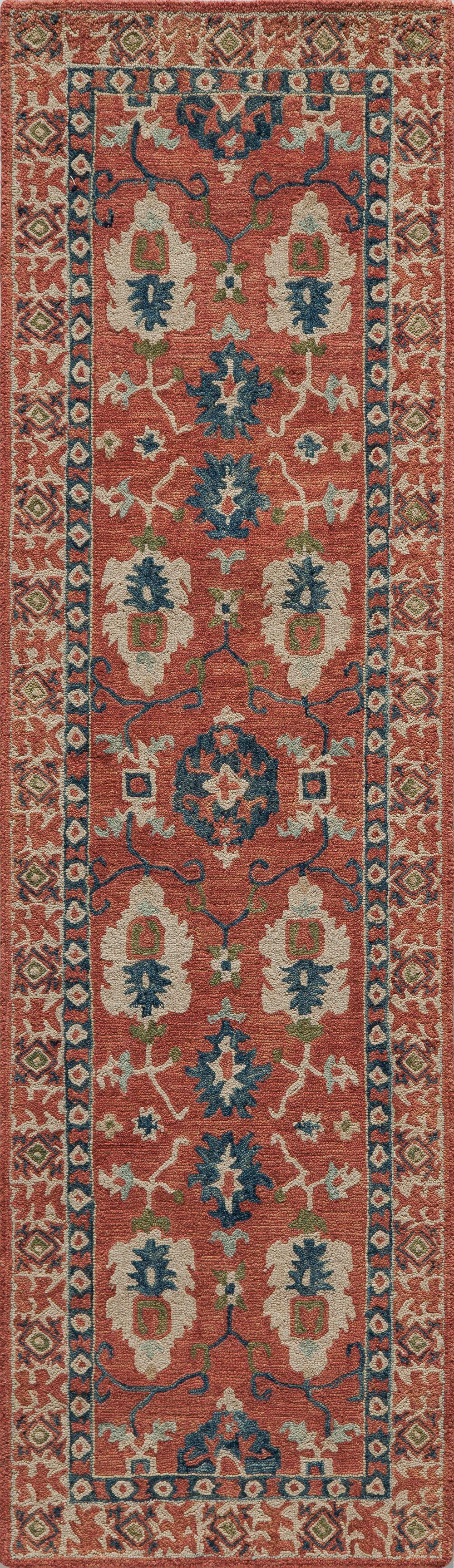 Adilet Hand-Hooked Red Area Rug Rug Size: Rectangle 7'6