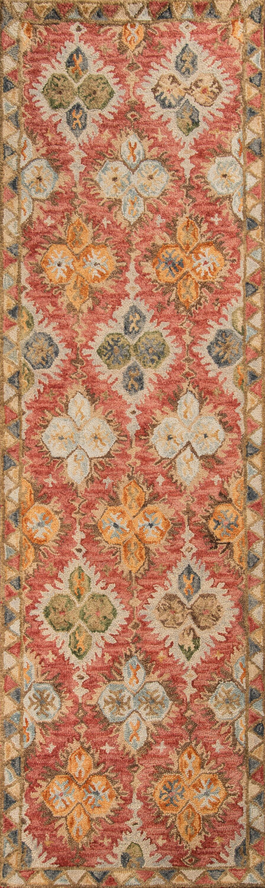 AdiletHand-Hooked Red Area Rug Rug Size: Runner 2'3
