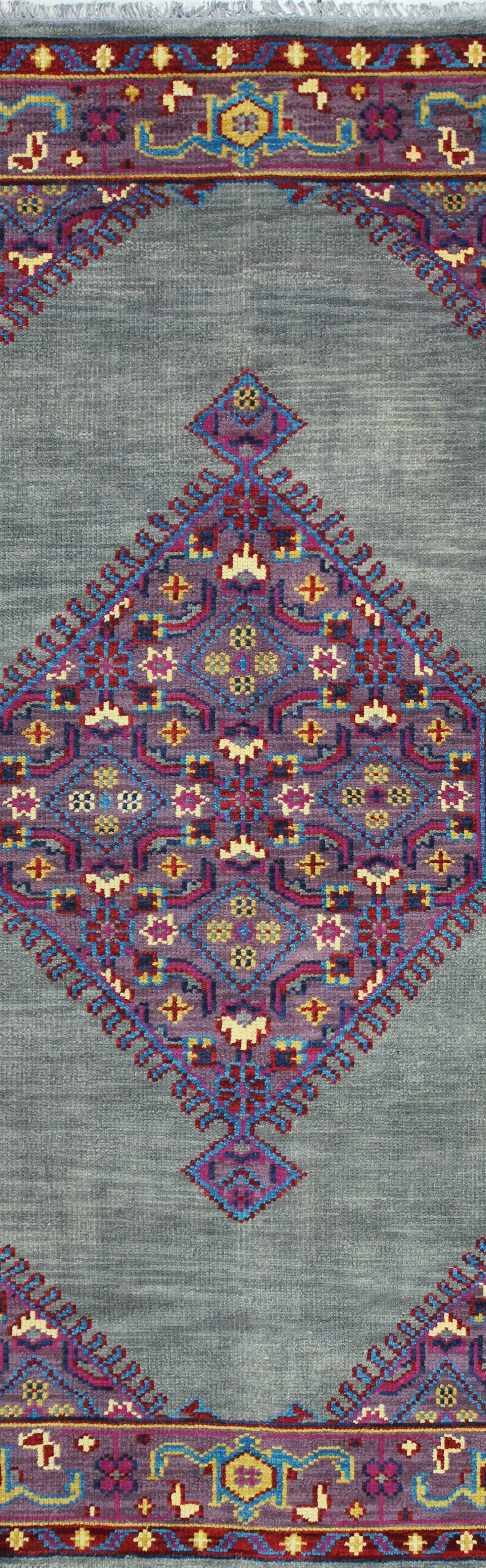Kurtis Hand-Knotted Grey Area Rug Rug Size: Runner 2'6