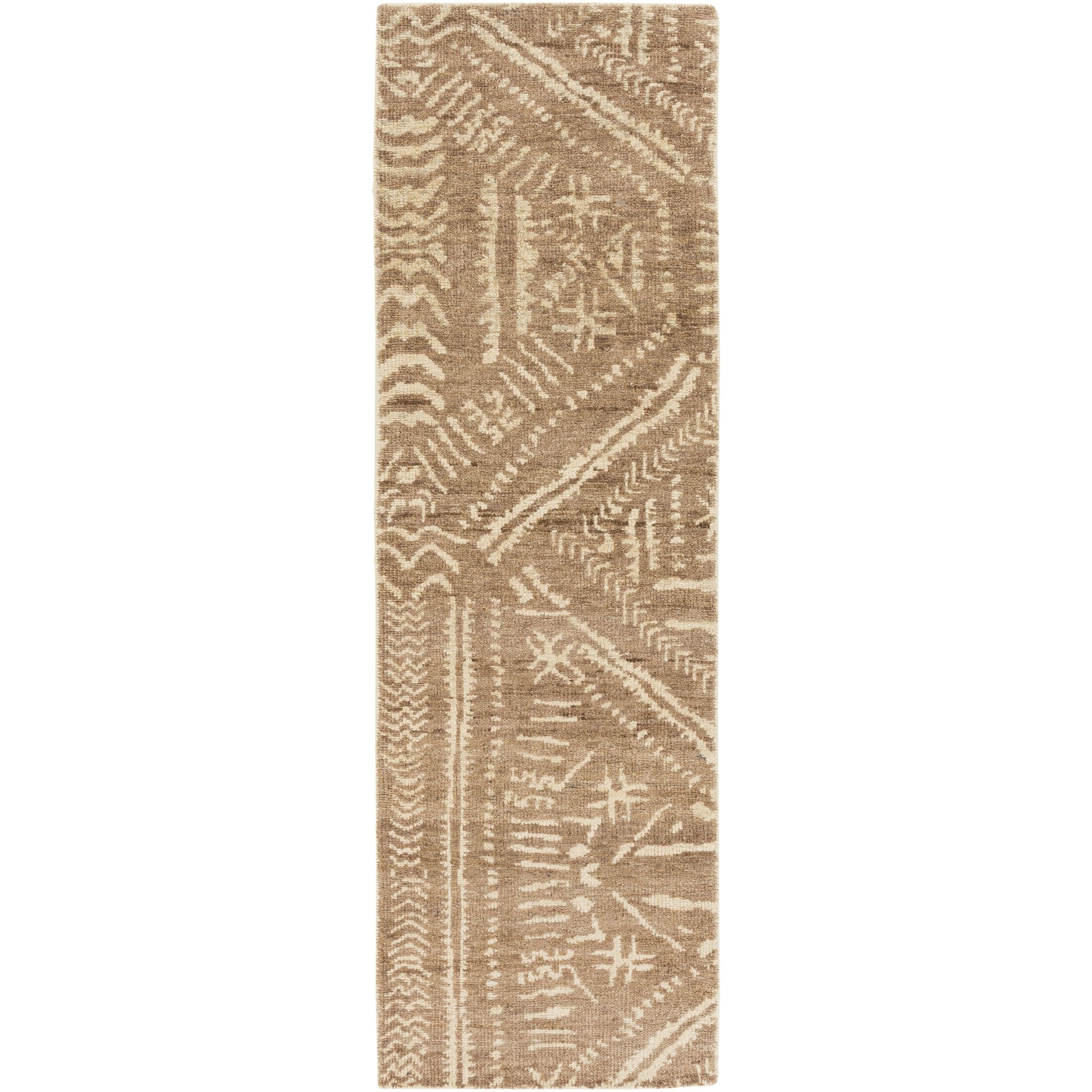 Amerie Hand-Knotted Dark Brown/ Cream Area Rug Rug Size: Runner 2'6