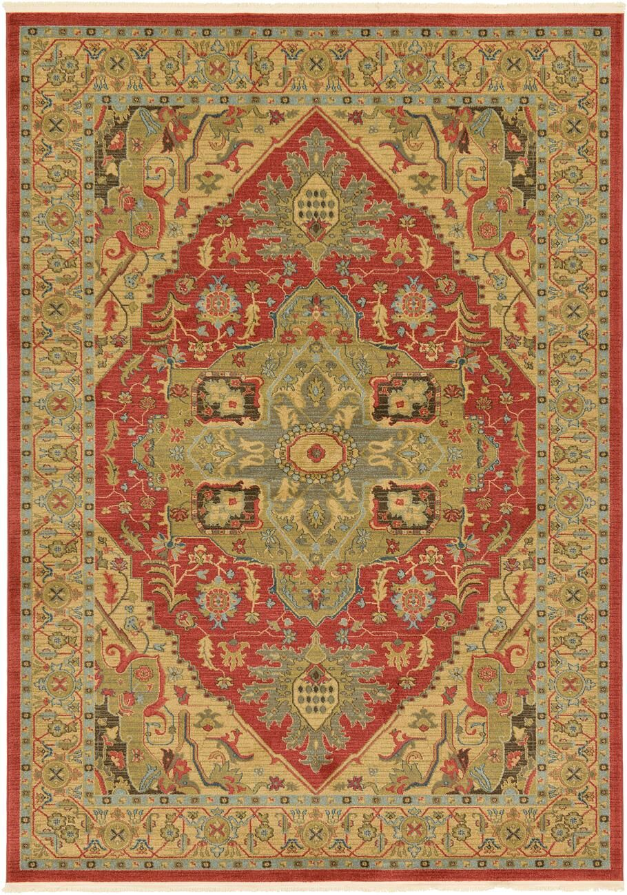Sina Red/Brown Area Rug Rug Size: Rectangle 7' x 10'