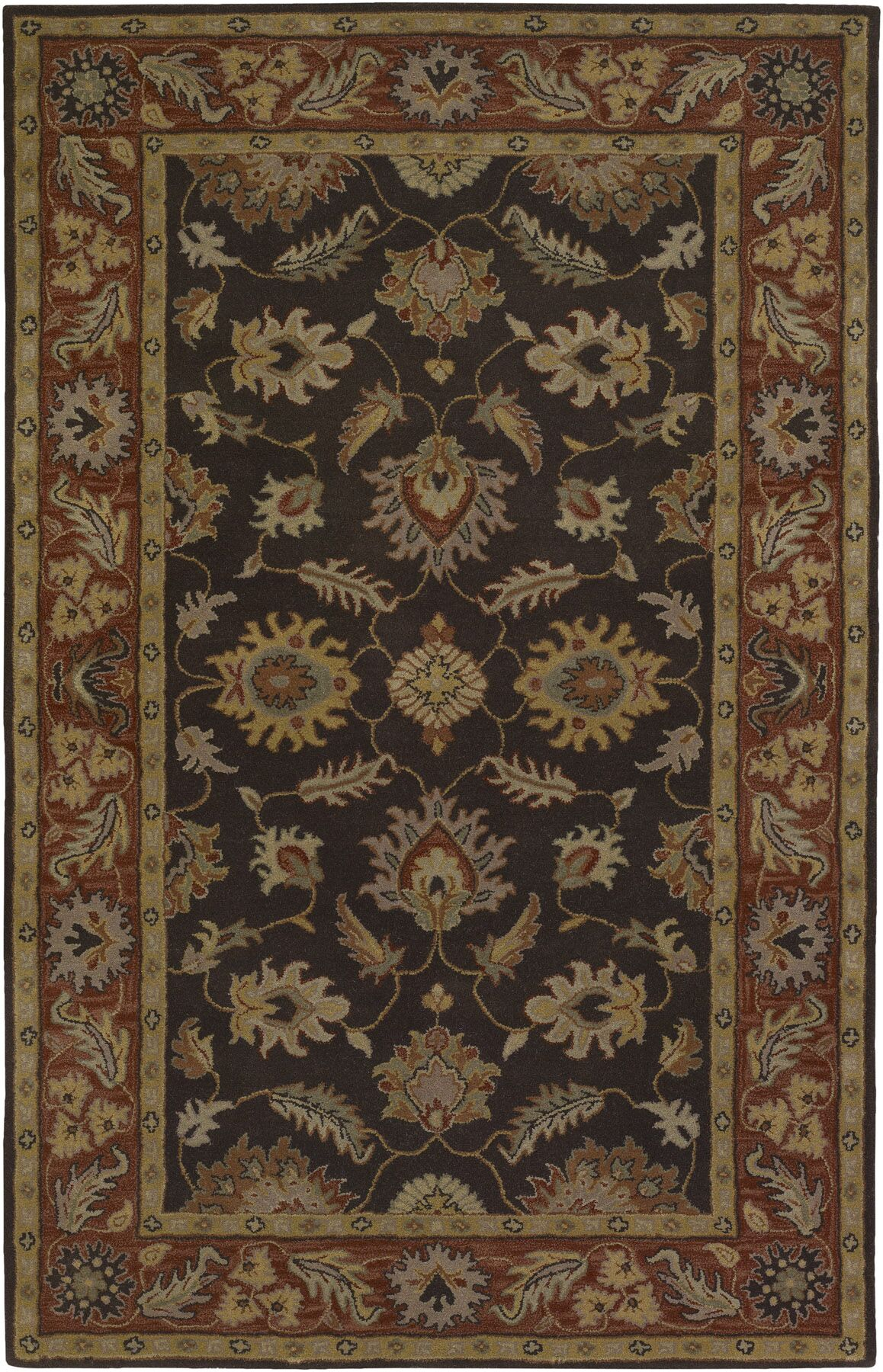 Keefer Chocolate/Tan Area Rug Rug Size: Oval 6' x 9'