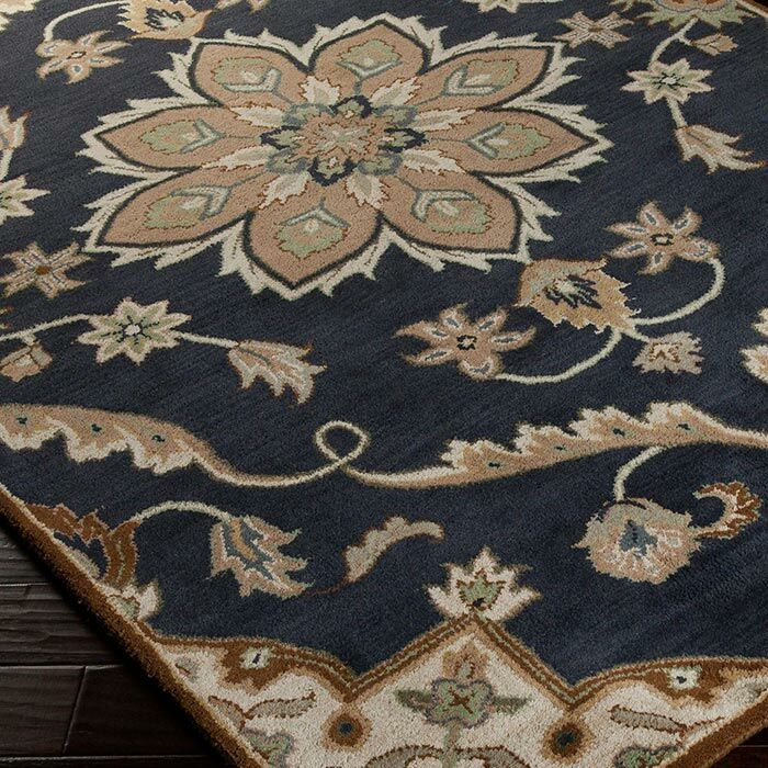 Topaz Midnight Blue/Beige Floral Area Rug Rug Size: Rectangle 6' x 9'