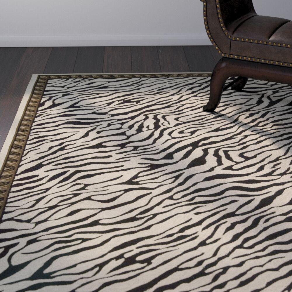 Skandar Hand-Hooked Wool Beige/Black Indoor Area Rug Rug Size: Rectangle 5'6
