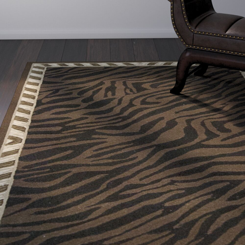 Skandar Hand-Hooked Wool Brown Indoor Area Rug Rug Size: Rectangle 3' x 5'