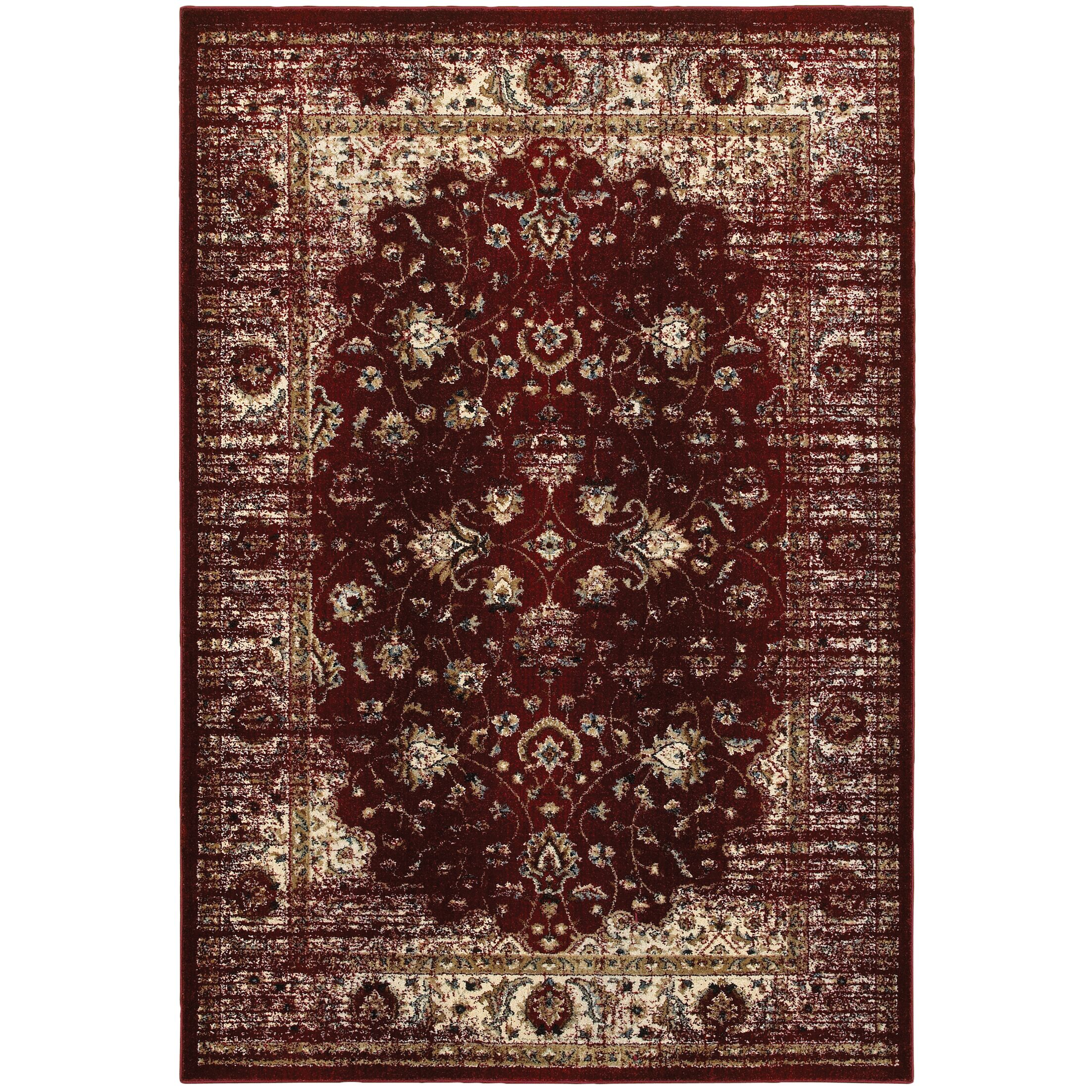 Quenby Red/Ivory Area Rug Rug Size: Rectangle 6'7