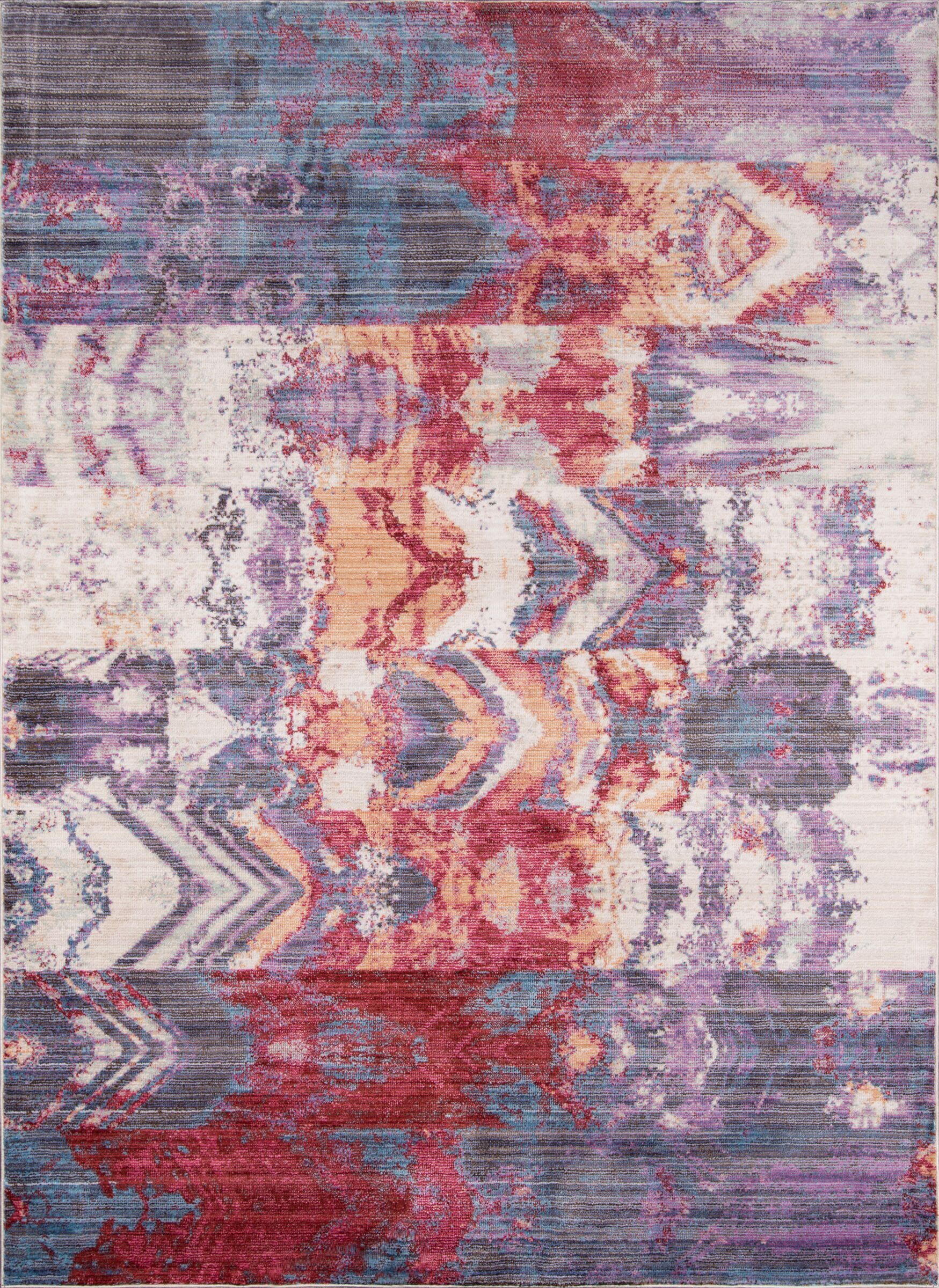 Victoria Purple/Red Area Rug Rug Size: Rectangle 3'3
