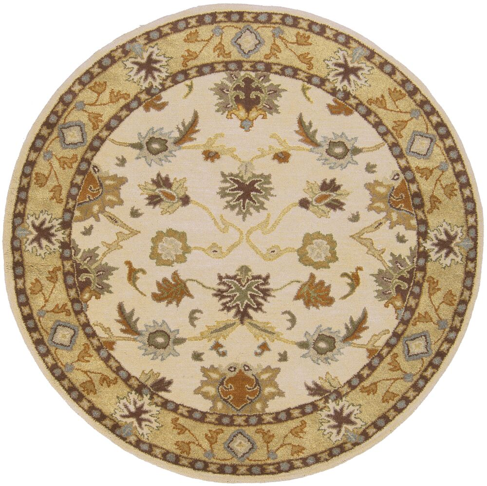Keefer Hand-Woven Wool Beige/Tan Area Rug Rug Size: Round 6'