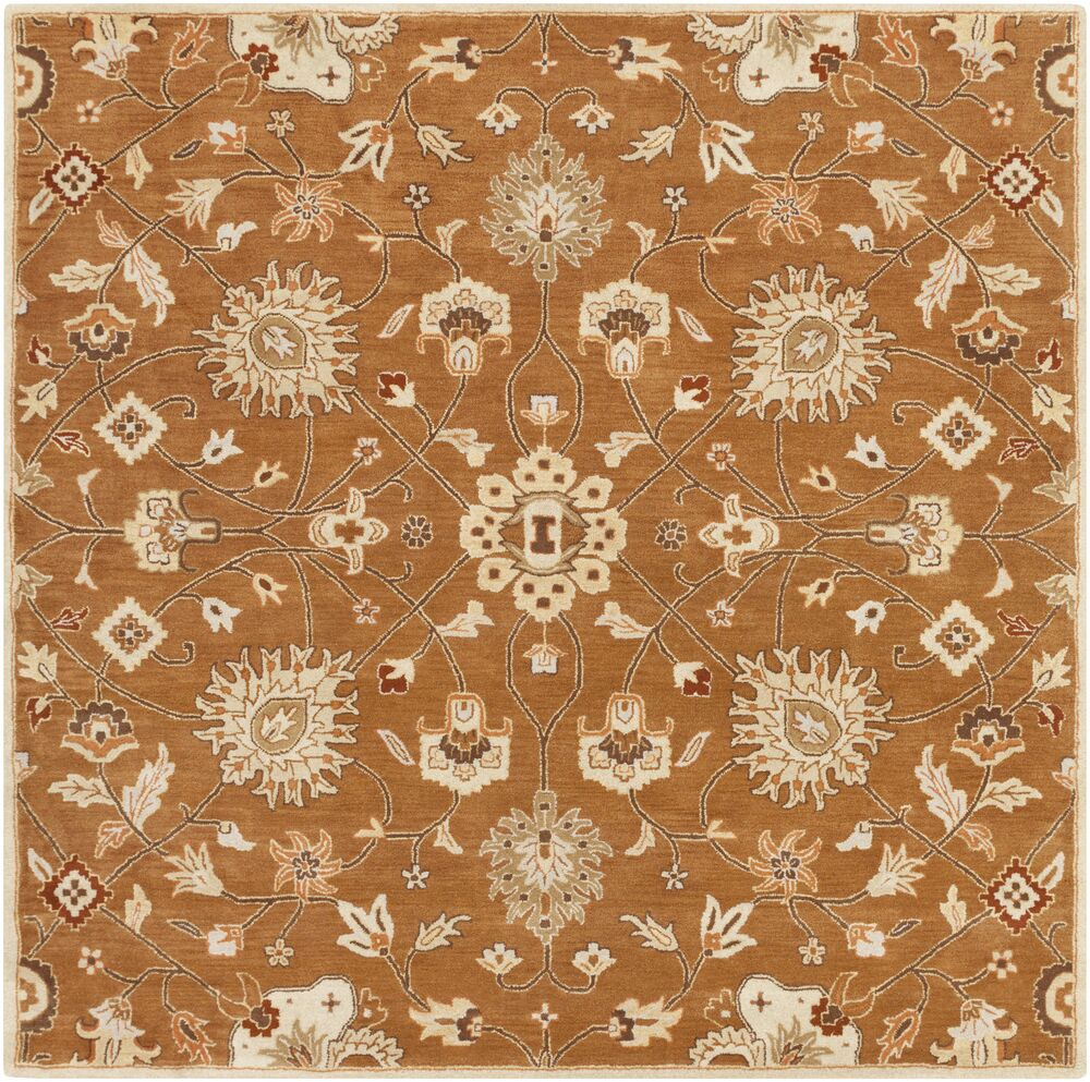 Keefer Coffee Bean Floral Area Rug Rug Size: Square 8'
