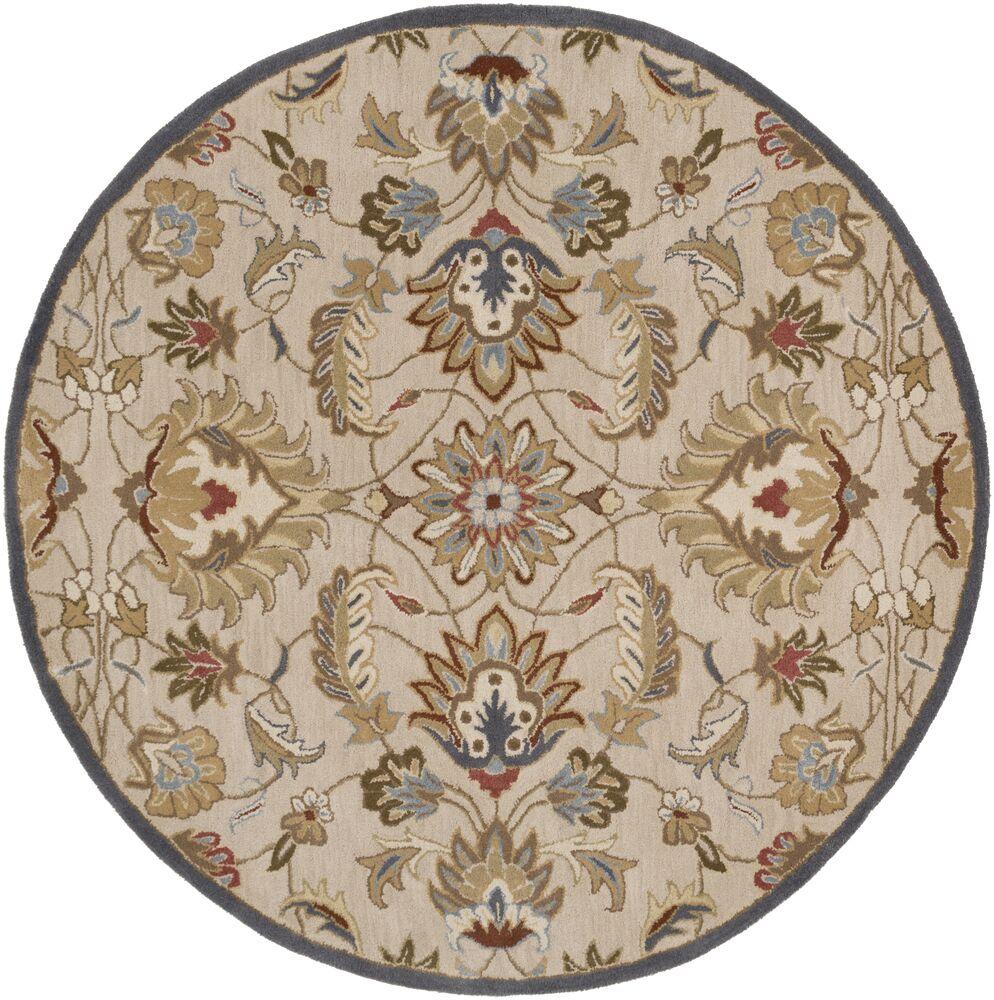 Topaz Blond Floral Area Rug Rug Size: Round 6'