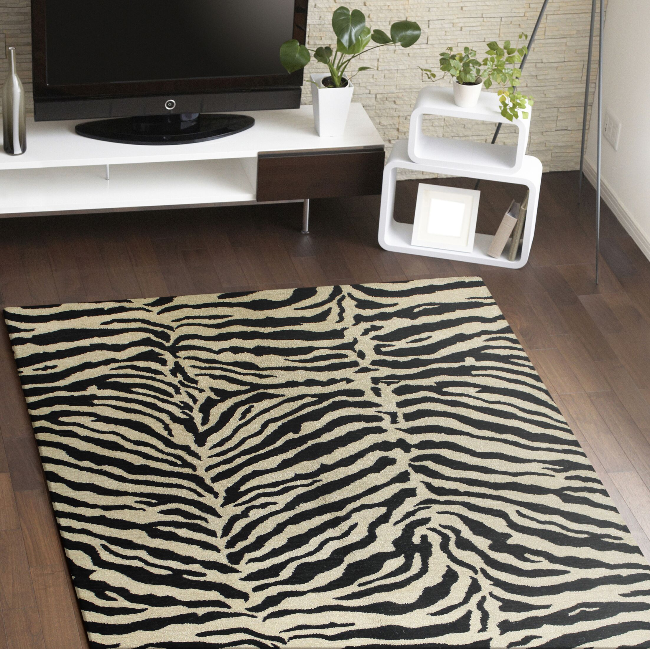 Sarana Hand-Tufted Black Area Rug Rug Size: Rectangle 5'6